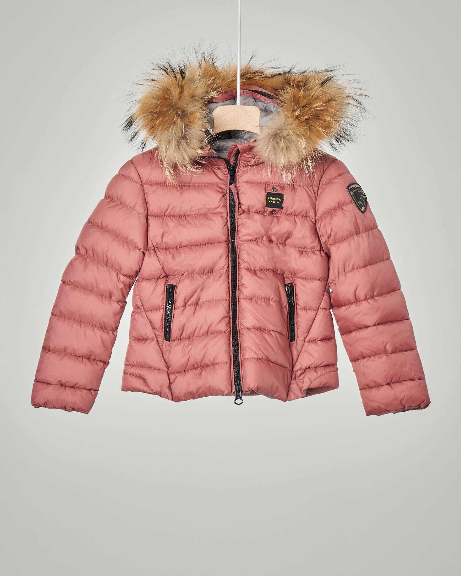 Giaccone rosa con cappuccio e pelliccia staccabile 4-8 anni