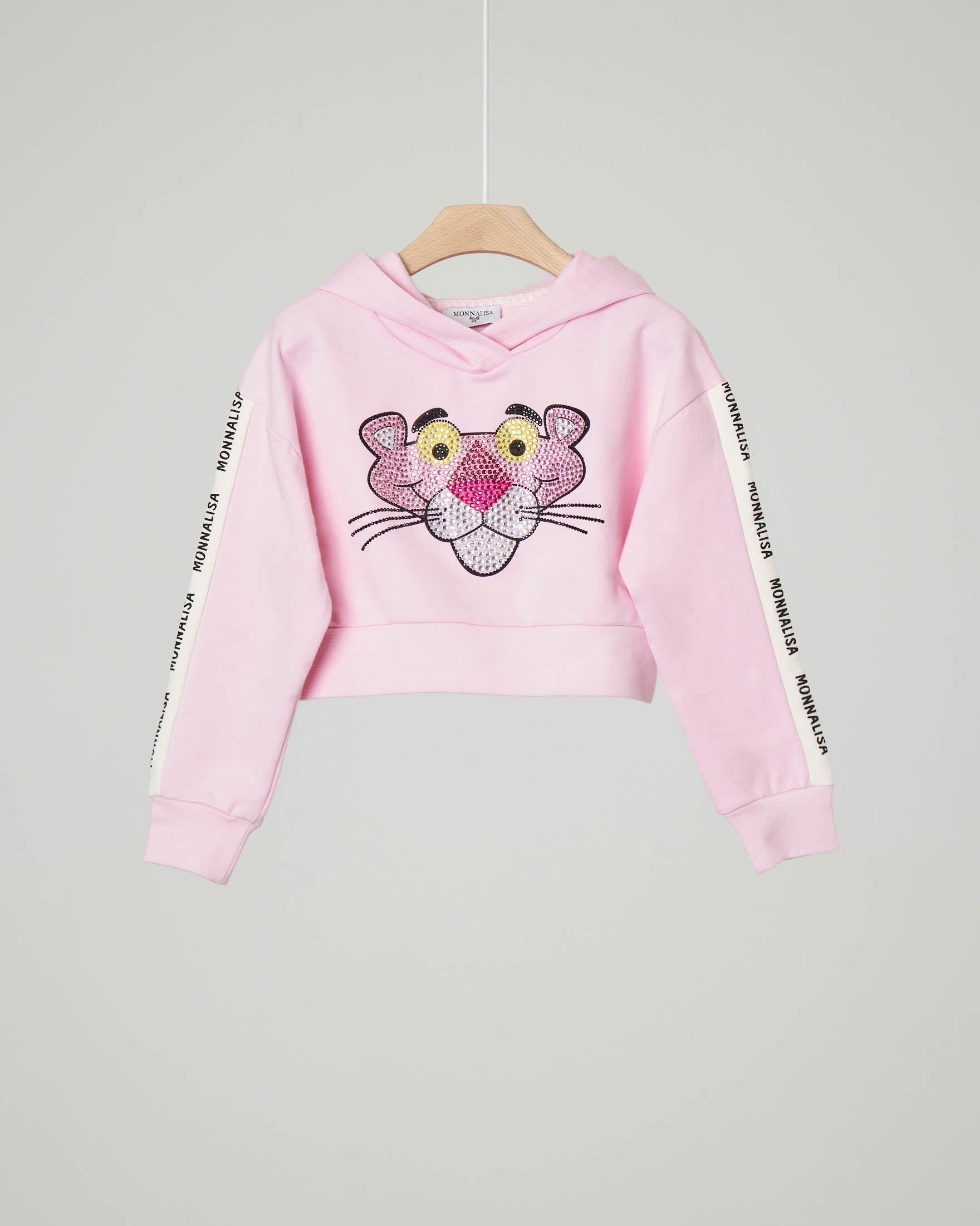 Felpa rosa con cappuccio e Pink Panther in strass 6-12 anni