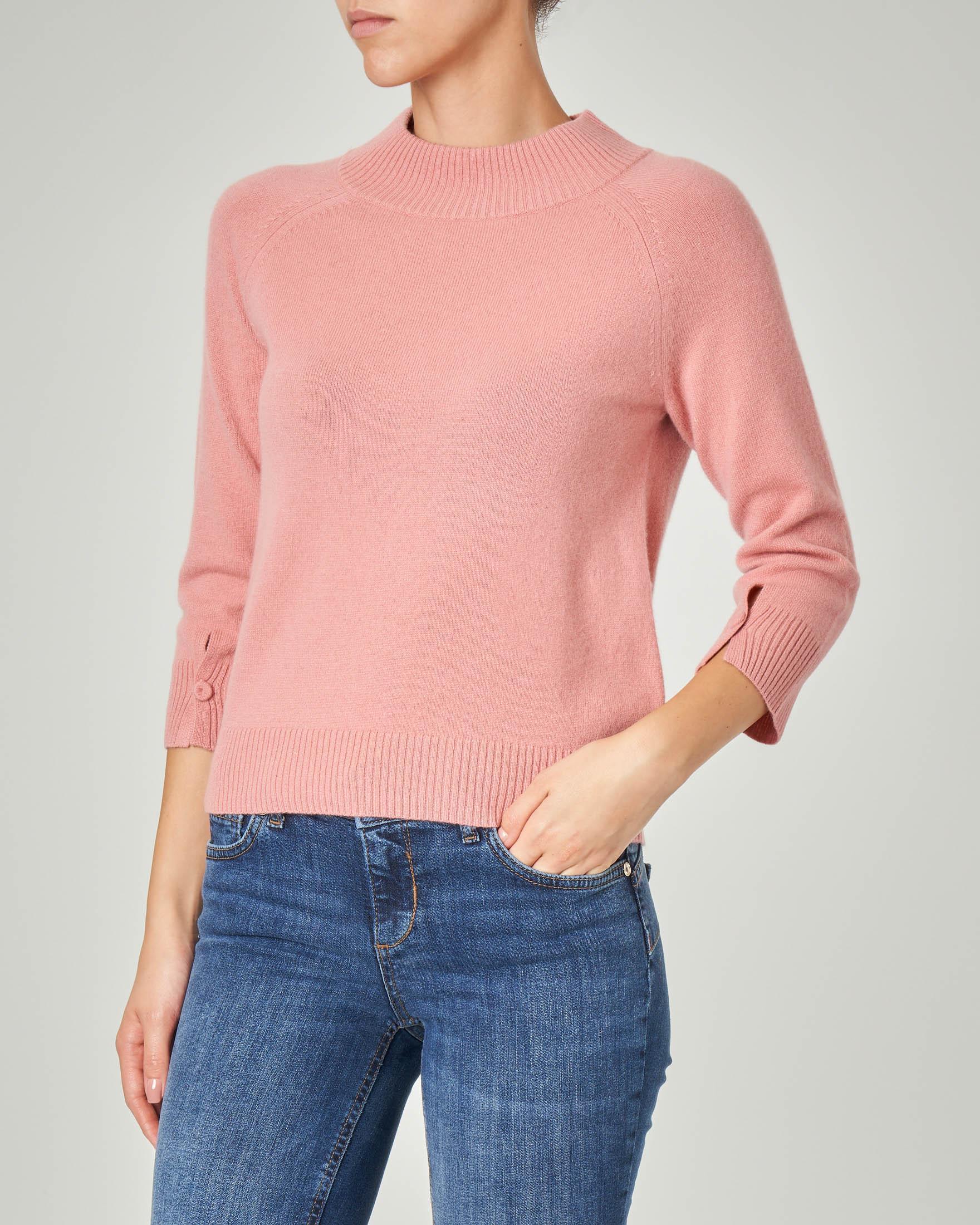 Maglia in lana misto cashmere rosa con maniche tre quarti