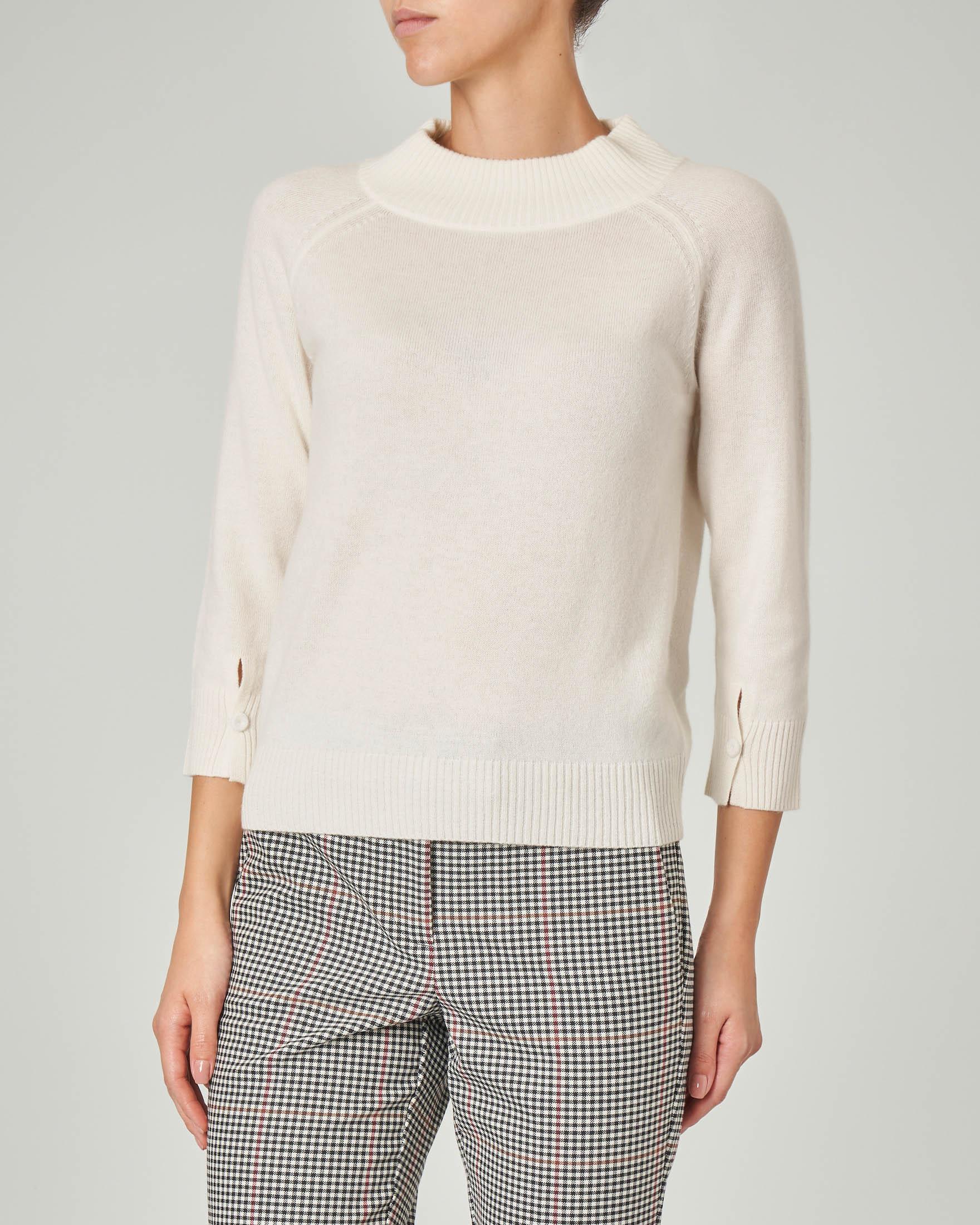 Maglia in lana misto cashmere avorio con maniche tre quarti