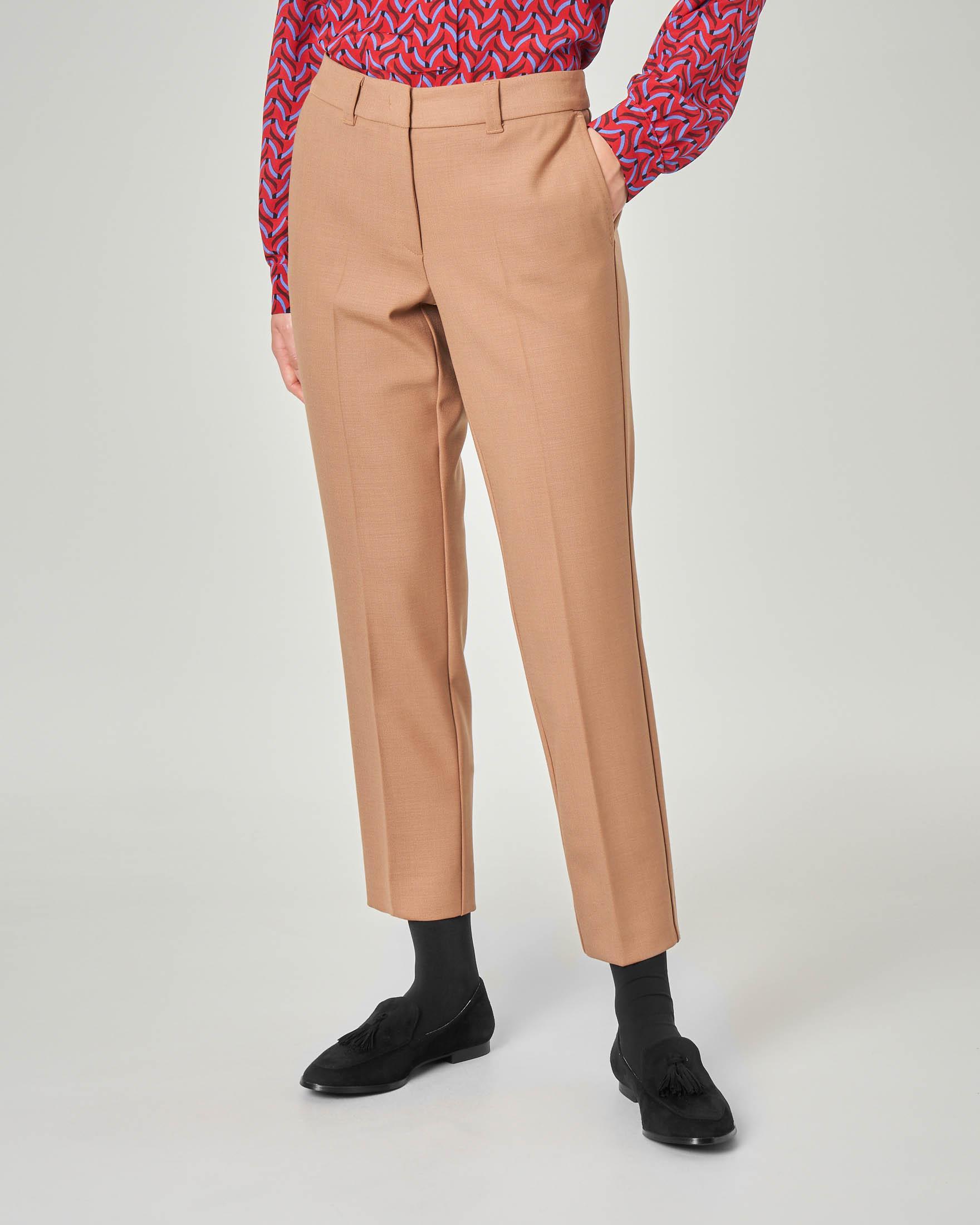 Pantaloni dritti color cammello in misto lana