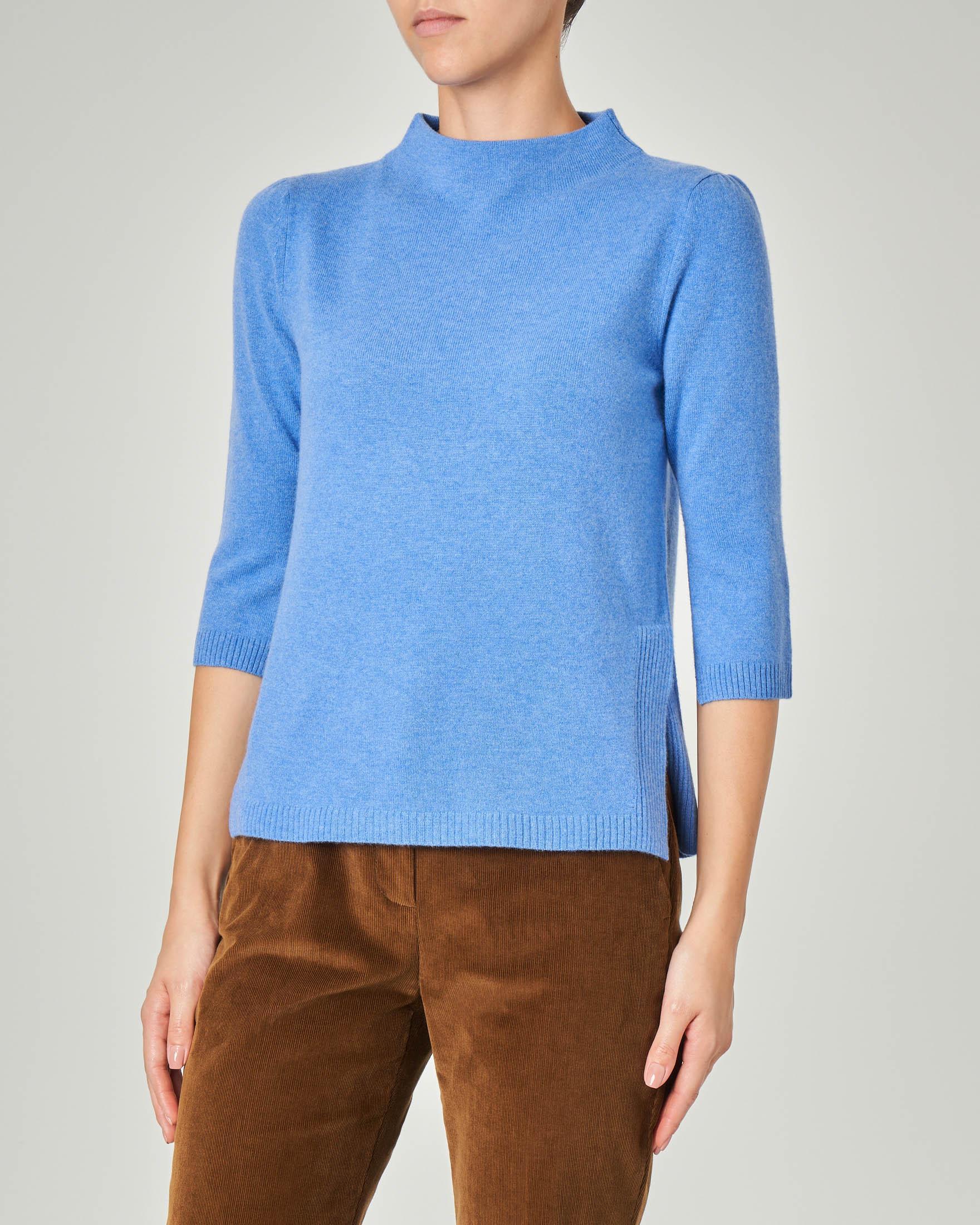 Maglia bluette in lana misto cashmere con collo alto e maniche tre quarti