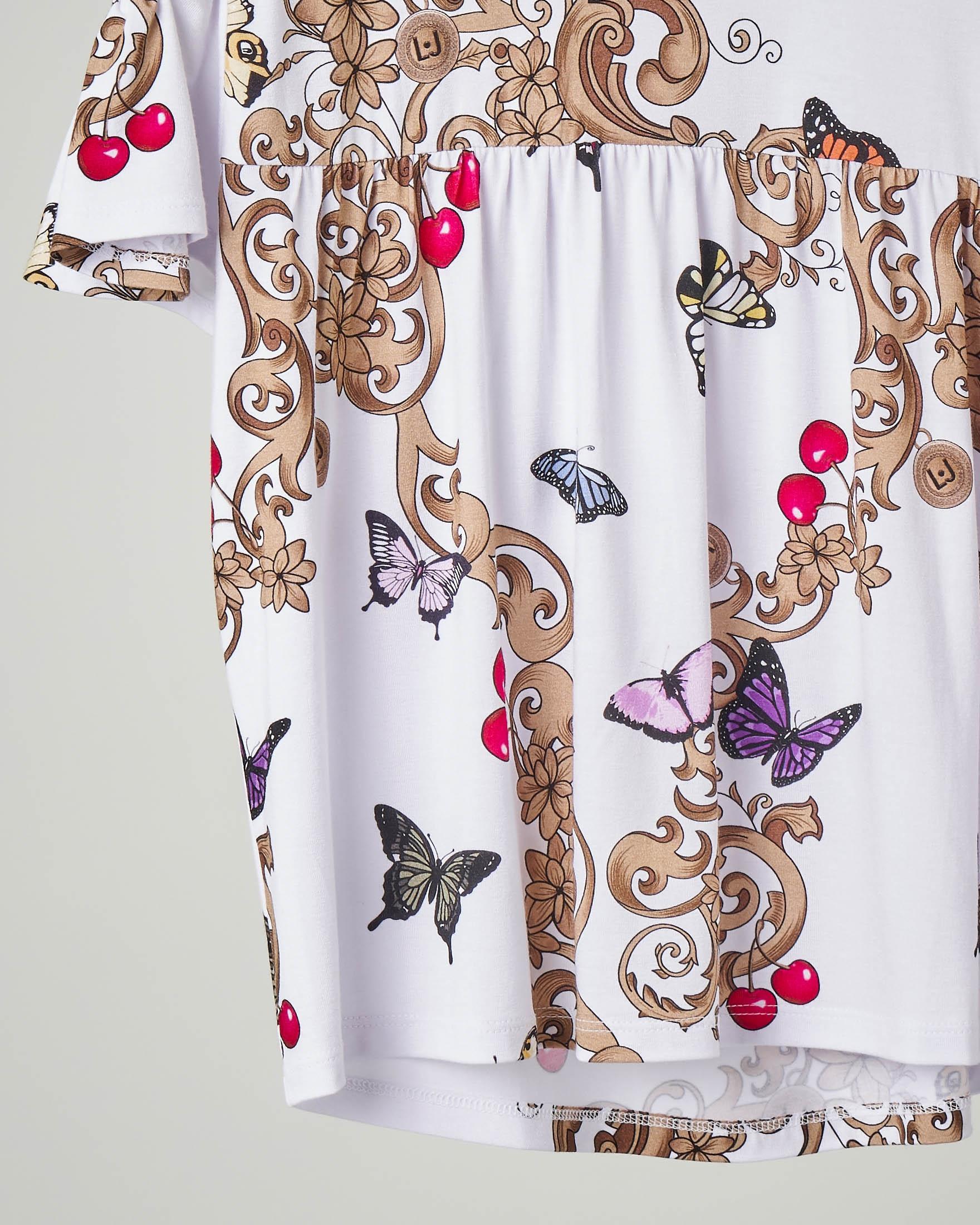 Camicia bianca in viscosa elasticizzata con stampa multicolor con maniche corte