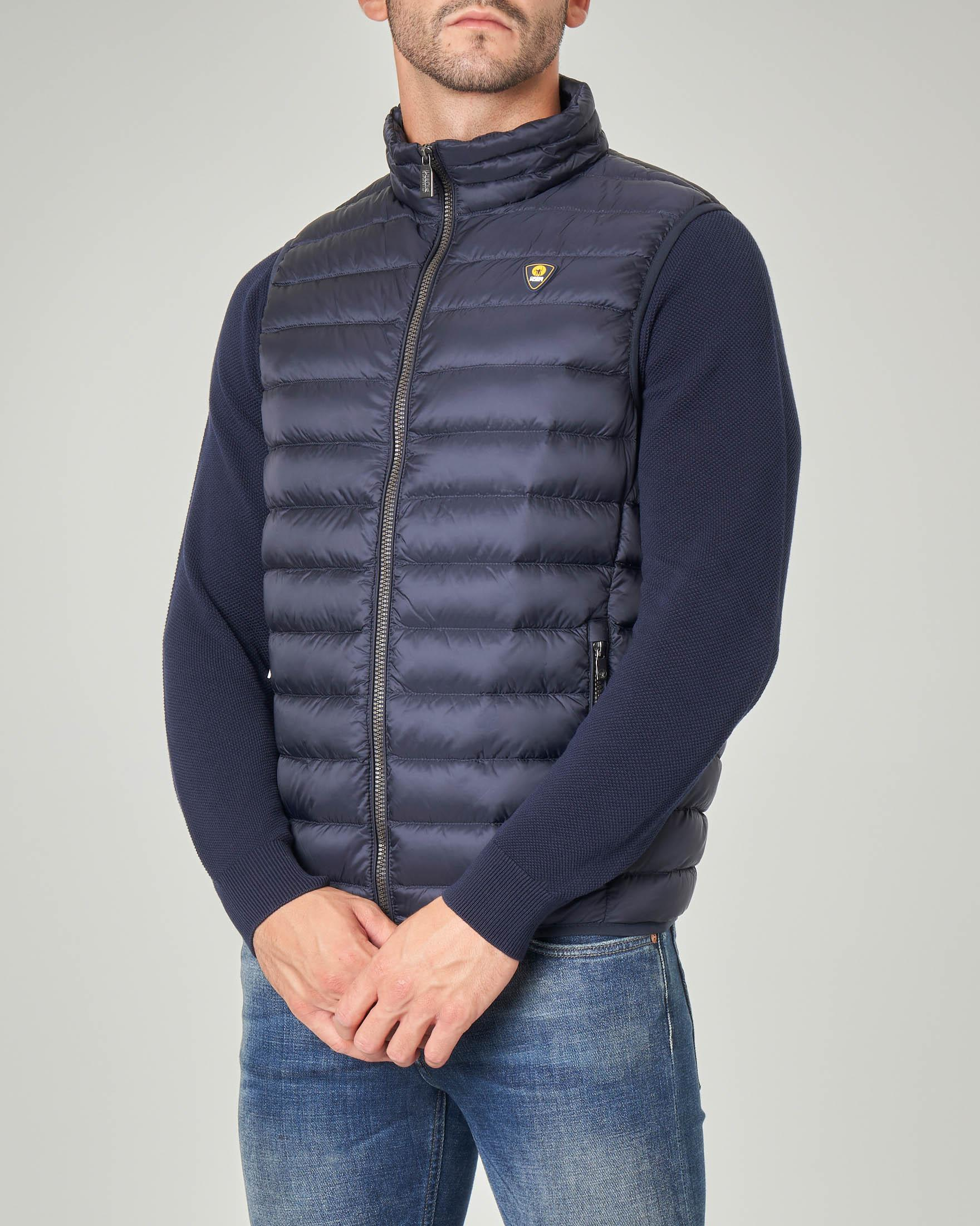 Gilet blu imbottito in piuma 800fill power