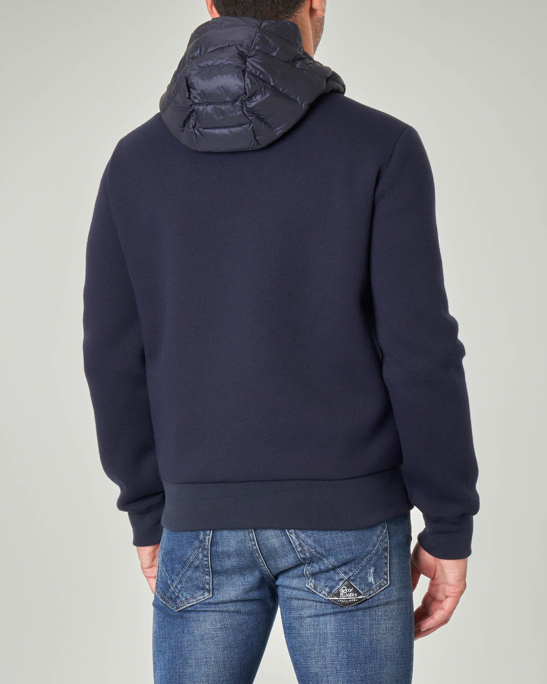 Giacca blu bitessuto con inserti in nylon e lana tecnica