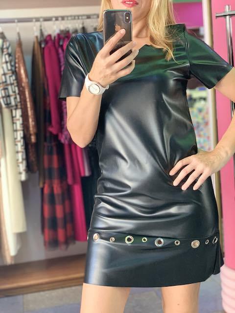 Vestito corto in ecopelle con borchie Vicky Mood Taglie M