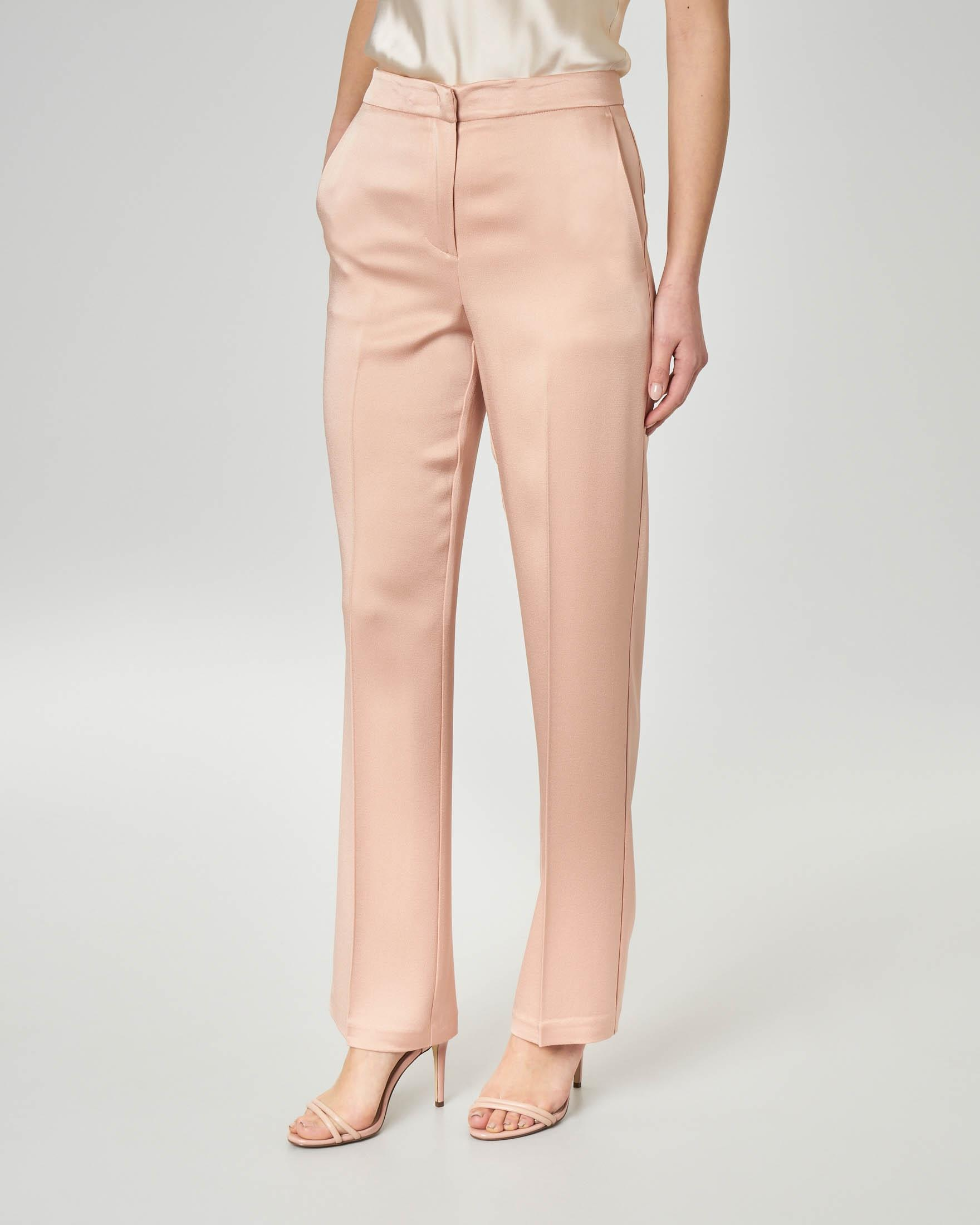 Pantaloni rosa in cady enver satin