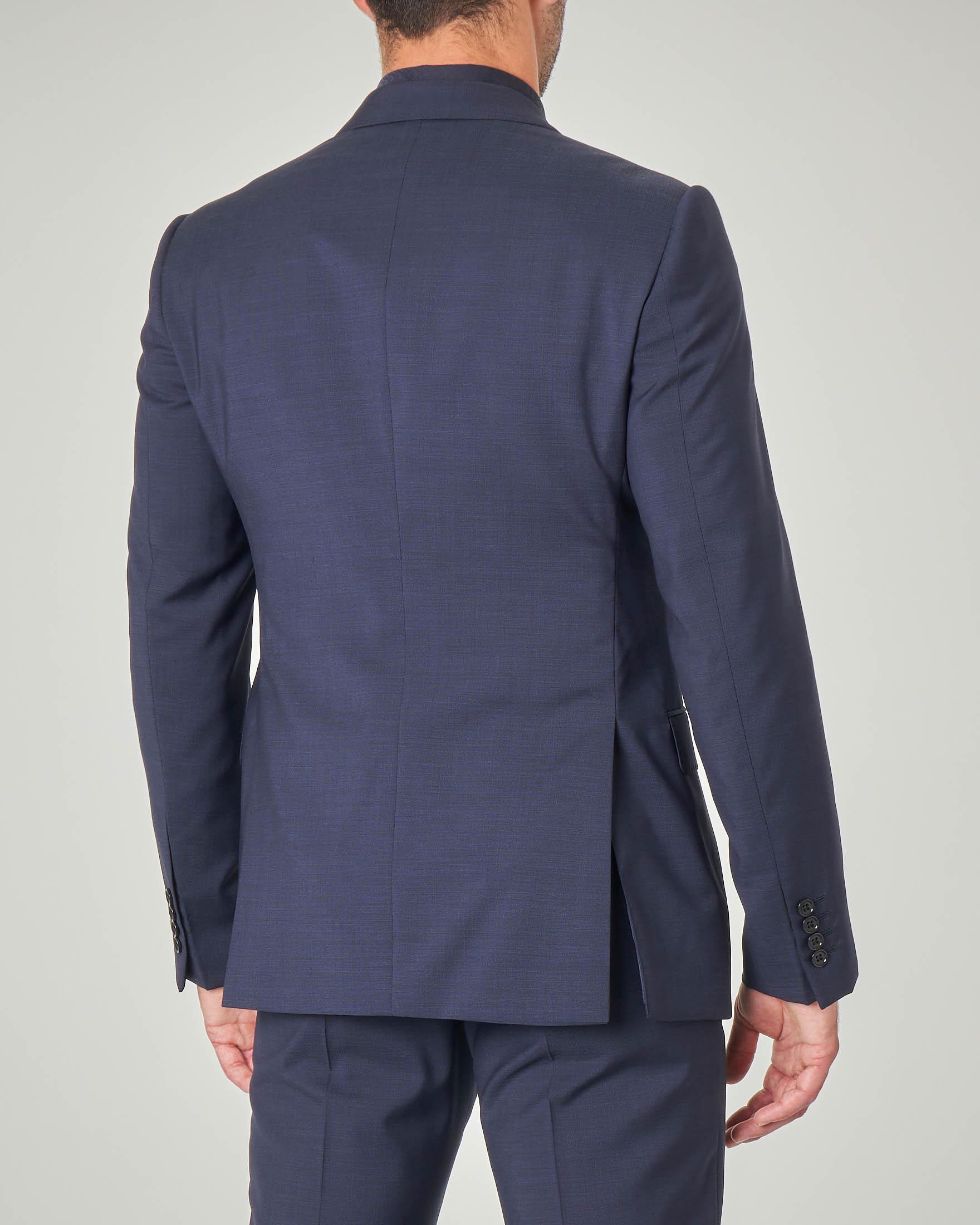 Abito blu in tela di lana a righine molto fitte