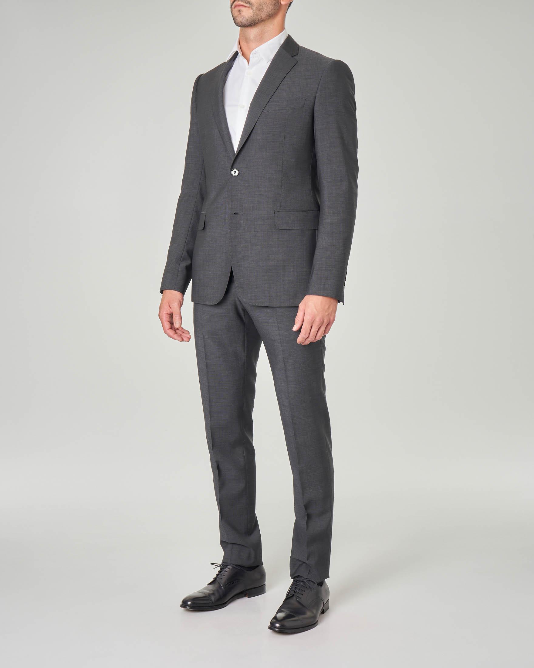 Abito grigio antracite in tela di lana a righine molto fitte