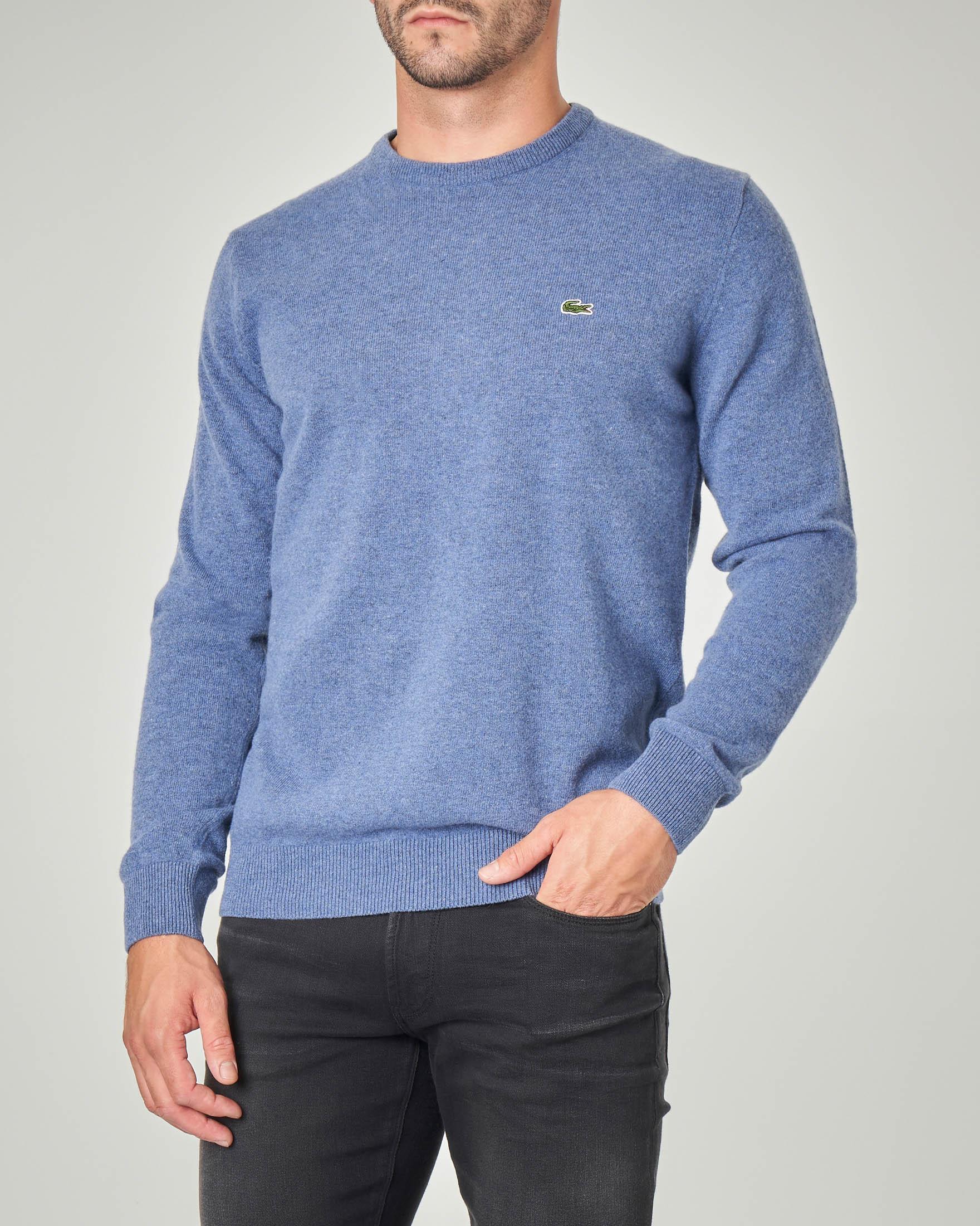 Maglia azzurra girocollo in pura lana
