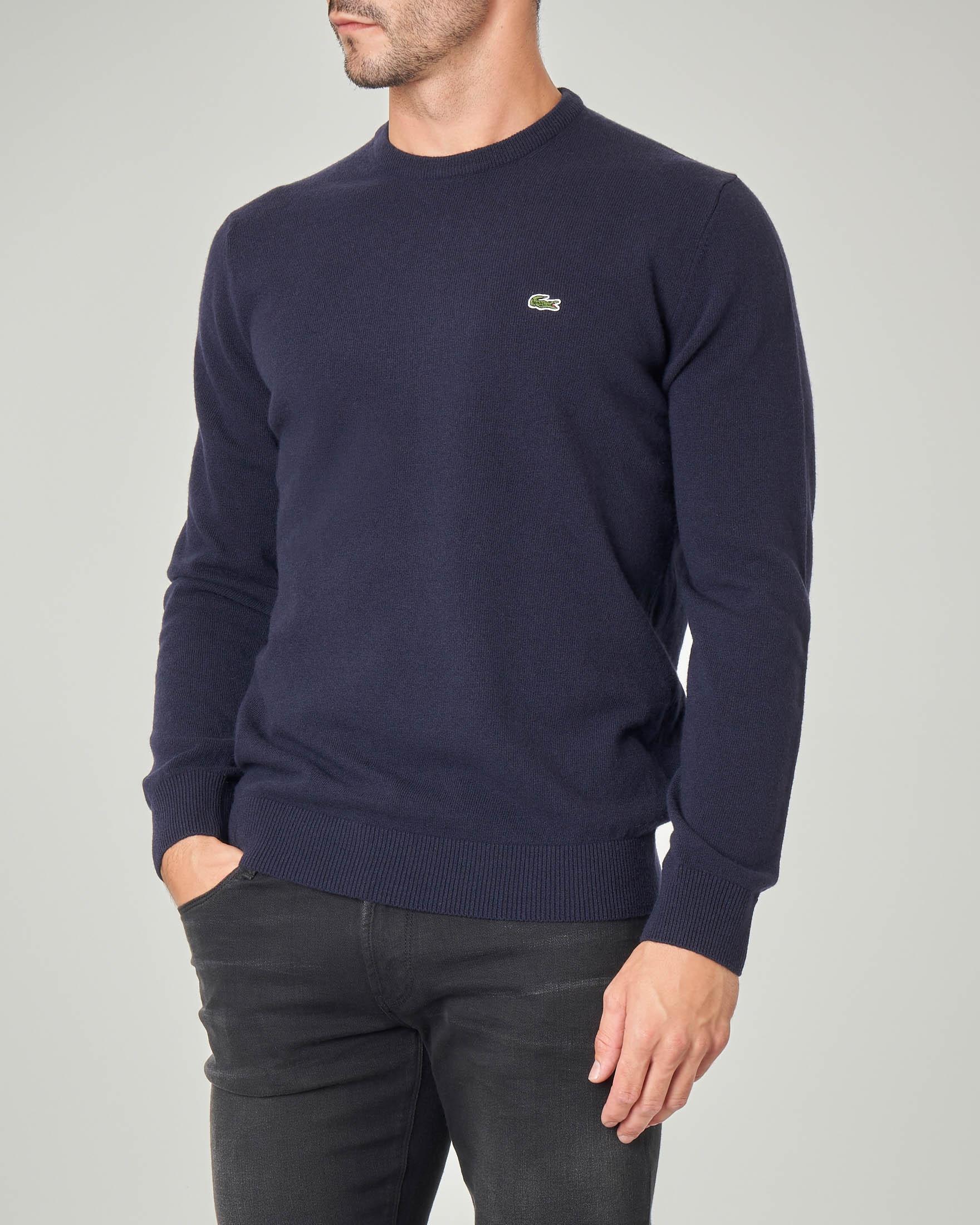 Maglia blu girocollo in pura lana