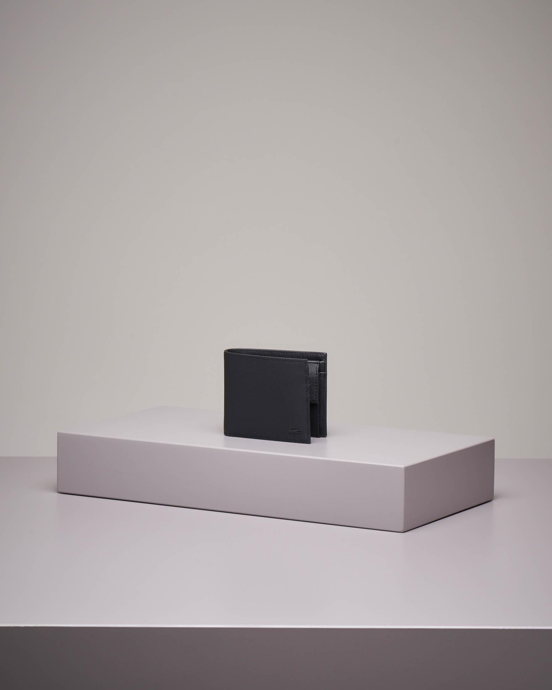 Portafoglio con portamonete nero in pelle