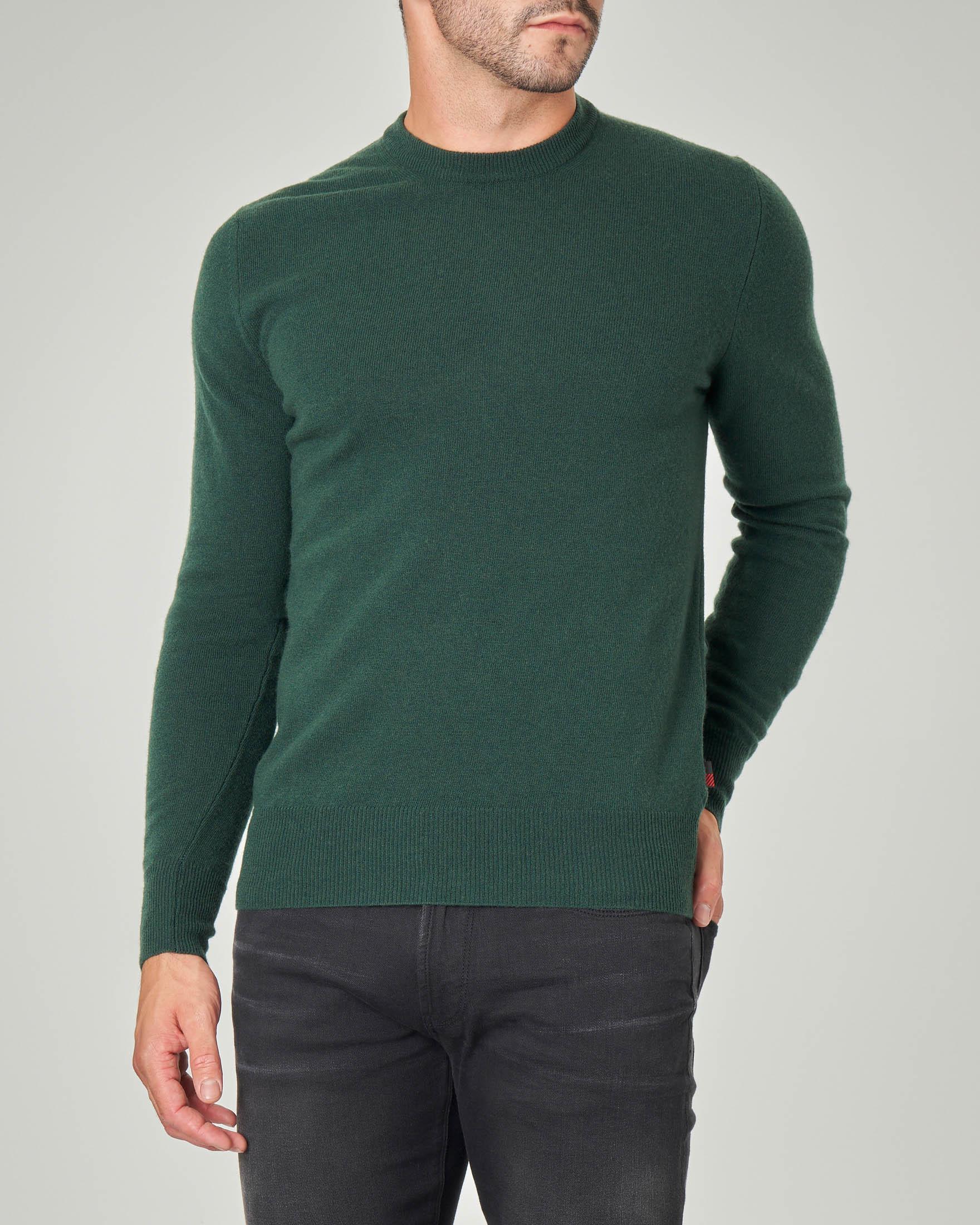 Maglia girocollo verde in pura lana