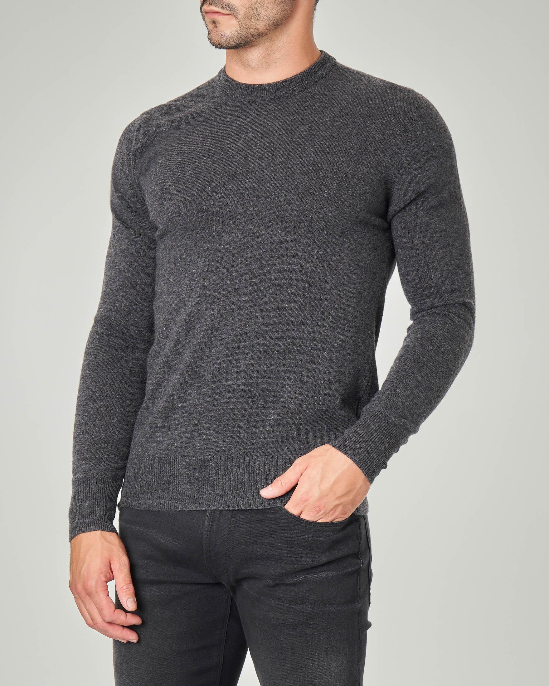 Maglia girocollo grigio antracite in pura lana