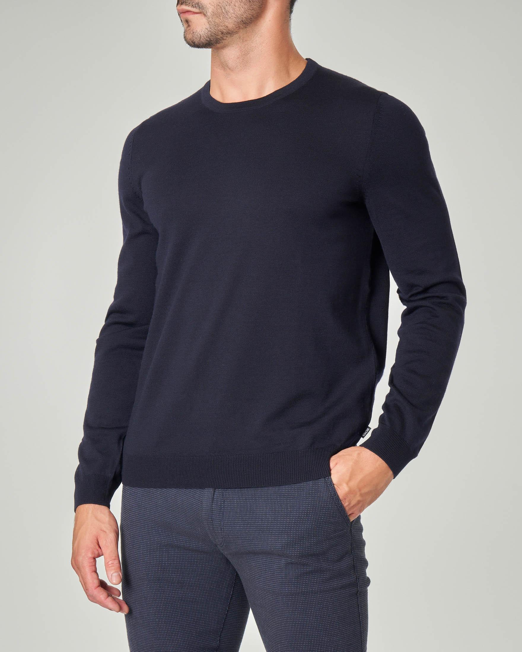 Maglia blu girocollo in lana merino