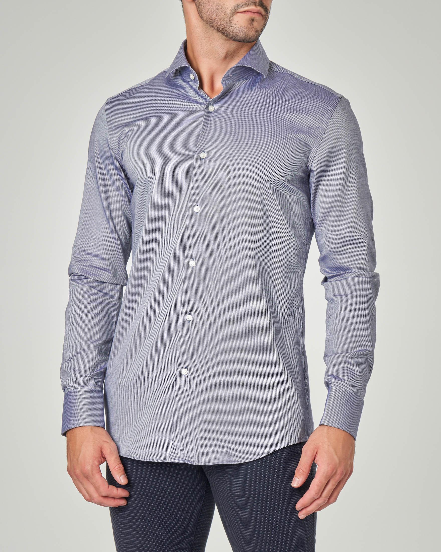 Camicia blu indaco microarmatura con colletto alla francese