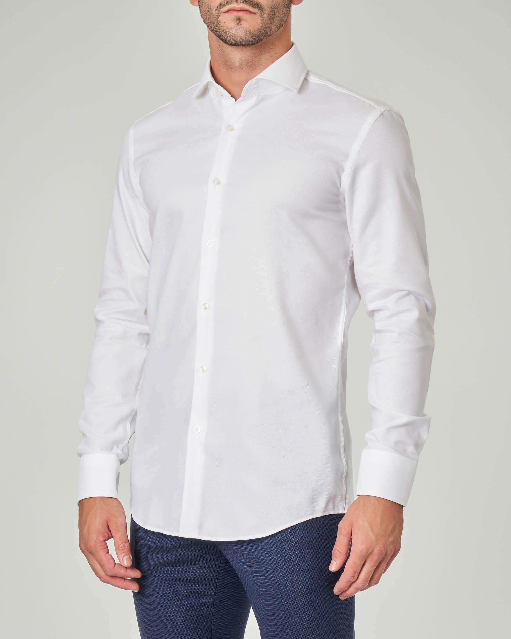 Camicia bianca microarmatura con colletto alla francese