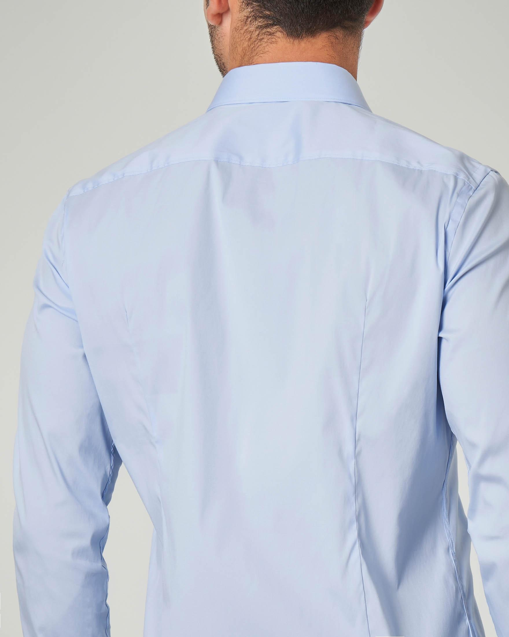 Camicia azzurra extra slim fit in popeline di cotone stretch