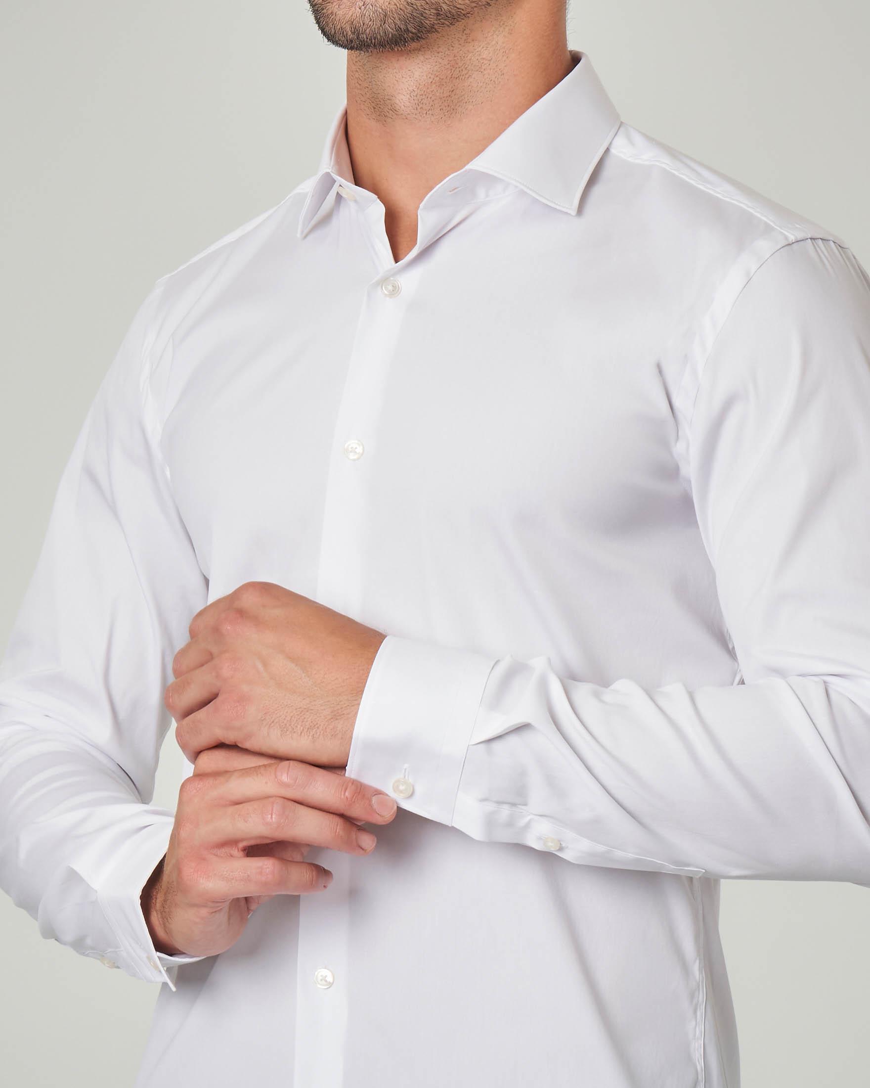 Camicia bianca extra slim fit in popeline di cotone stretch