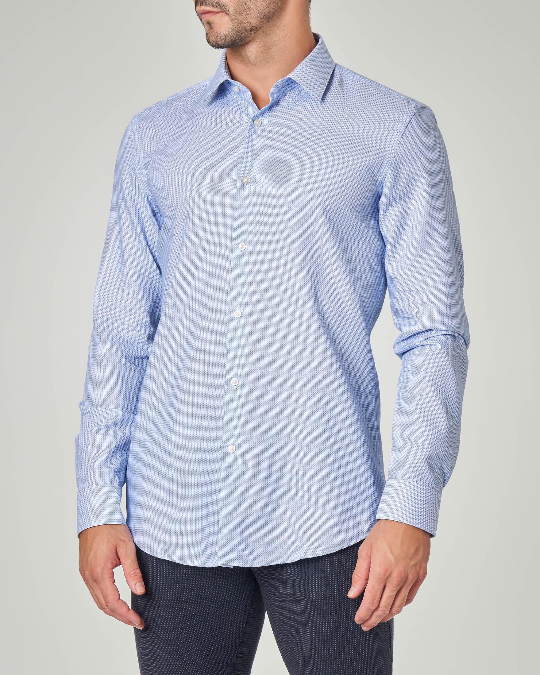 Camicia azzurra microarmatura con colletto all'italiana