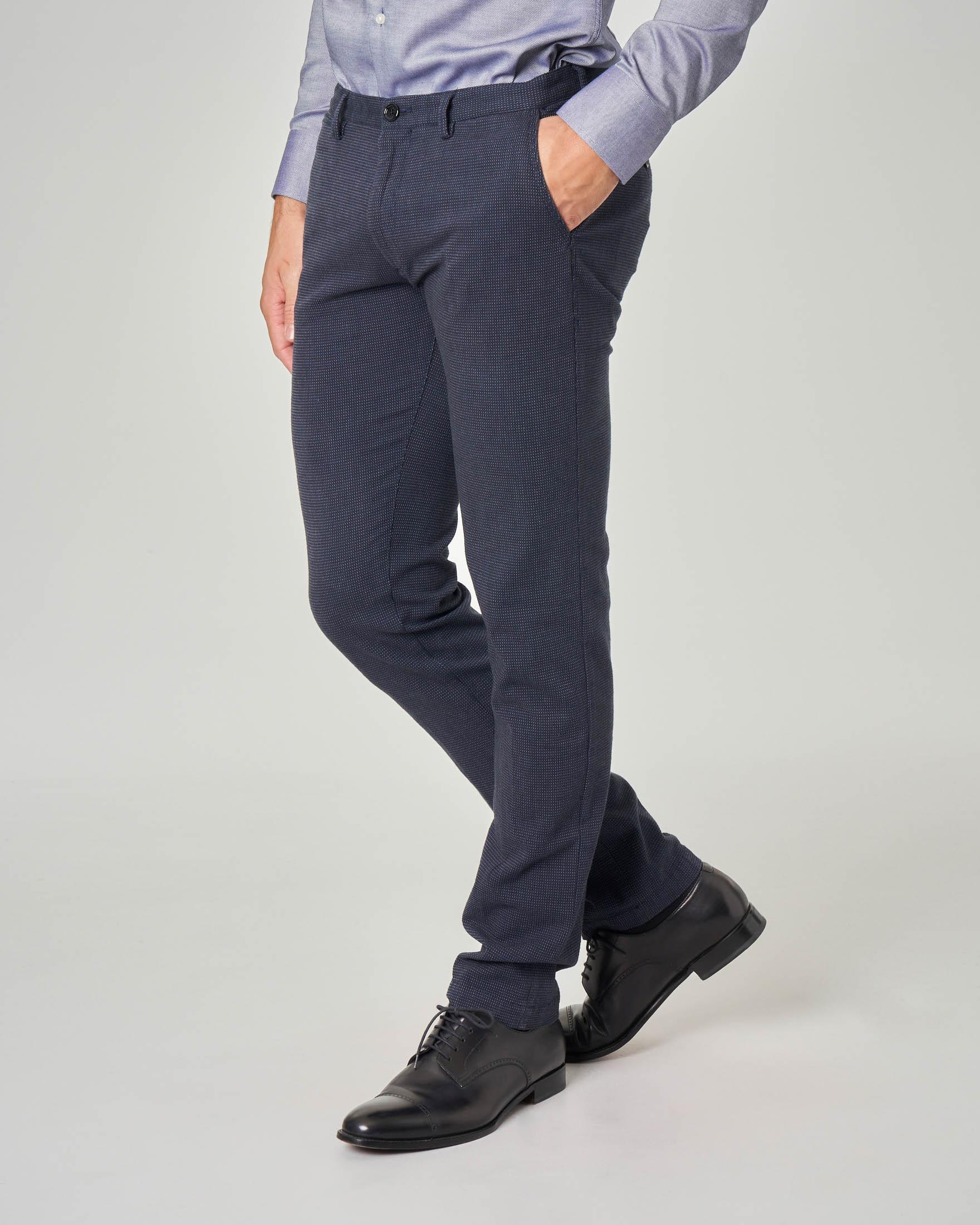 Pantalone blu microarmatura in tessuto stretch