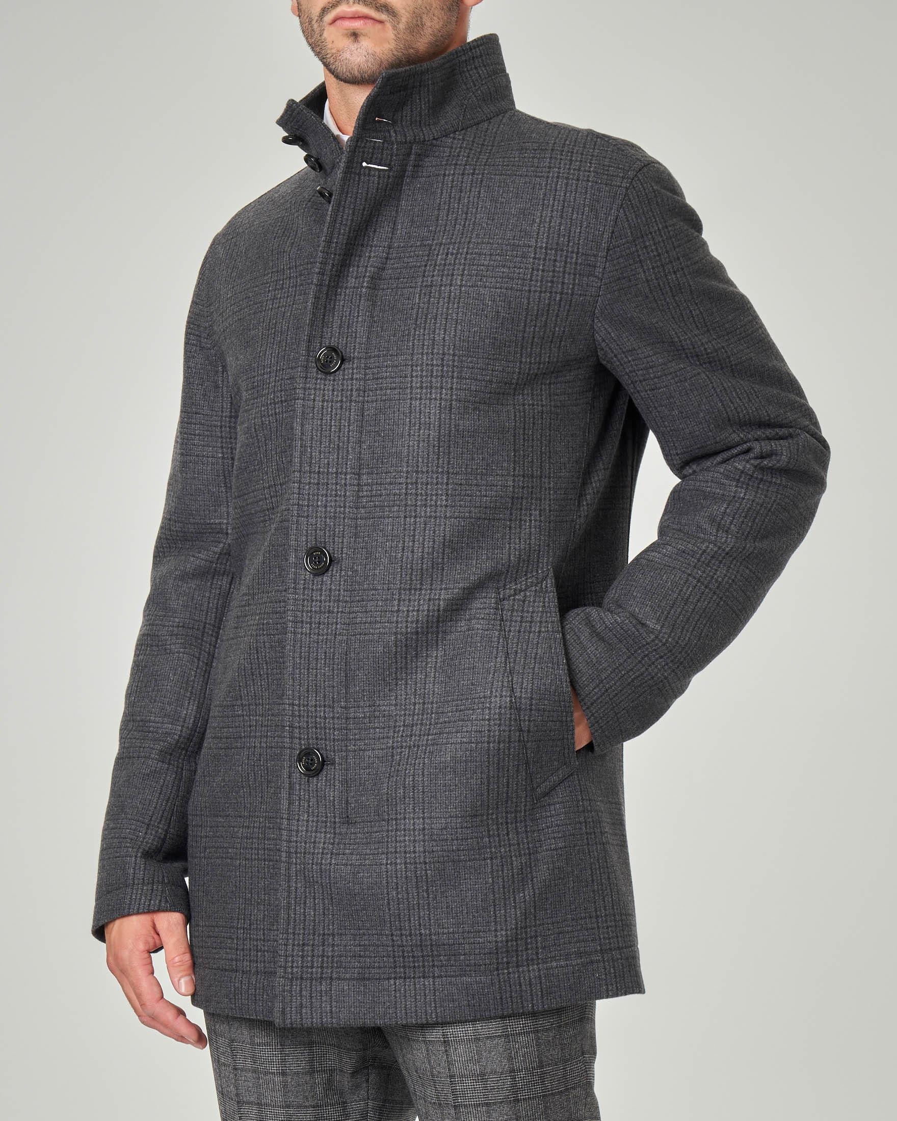 Cappotto principe di Galles grigio antracite in lana