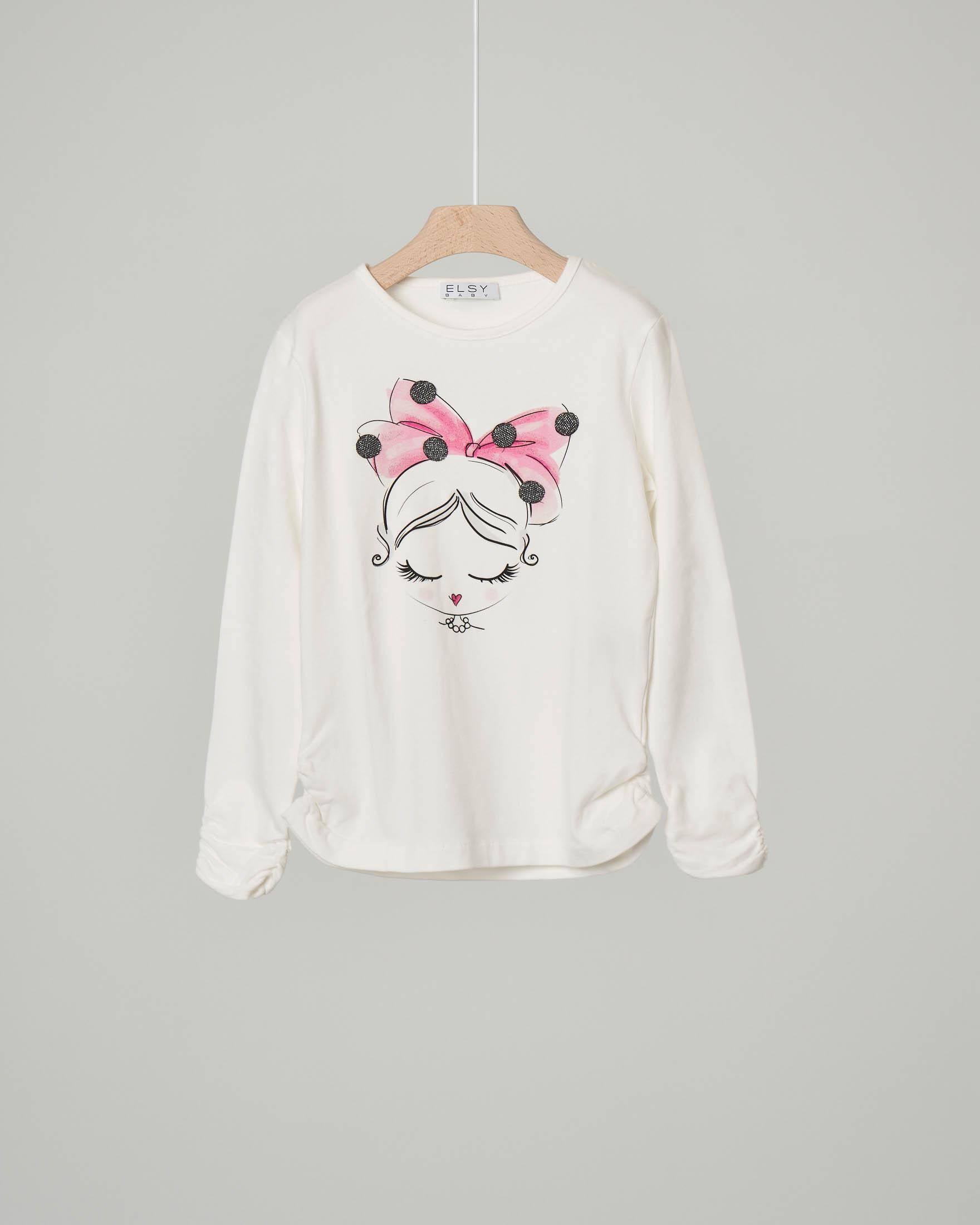 T-shirt bianca manica lunga con stampa bimba con fiocco rosa 3-7 anni