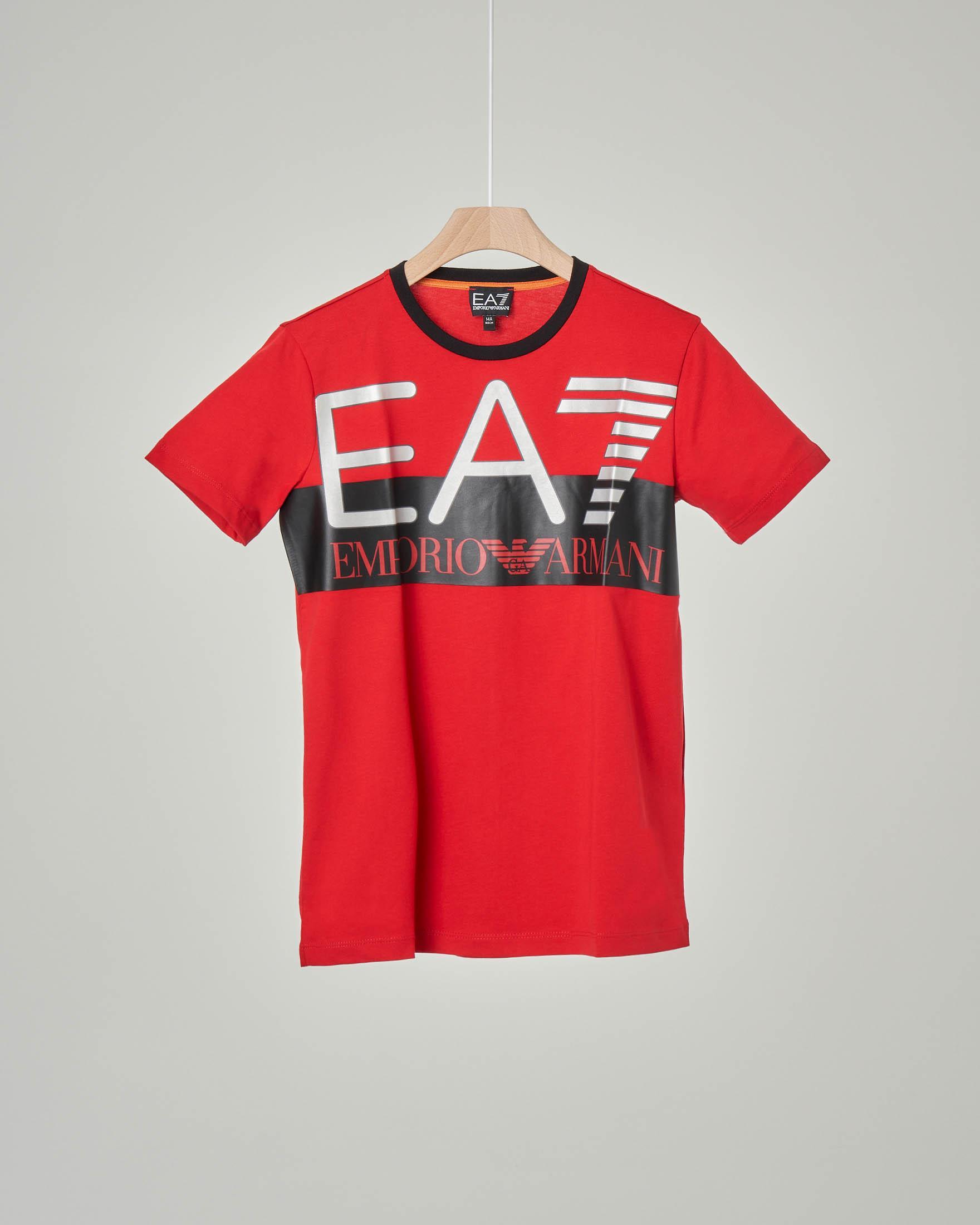 T-shirt rossa mezza manica con maxi-logo stampato 8-14 anni