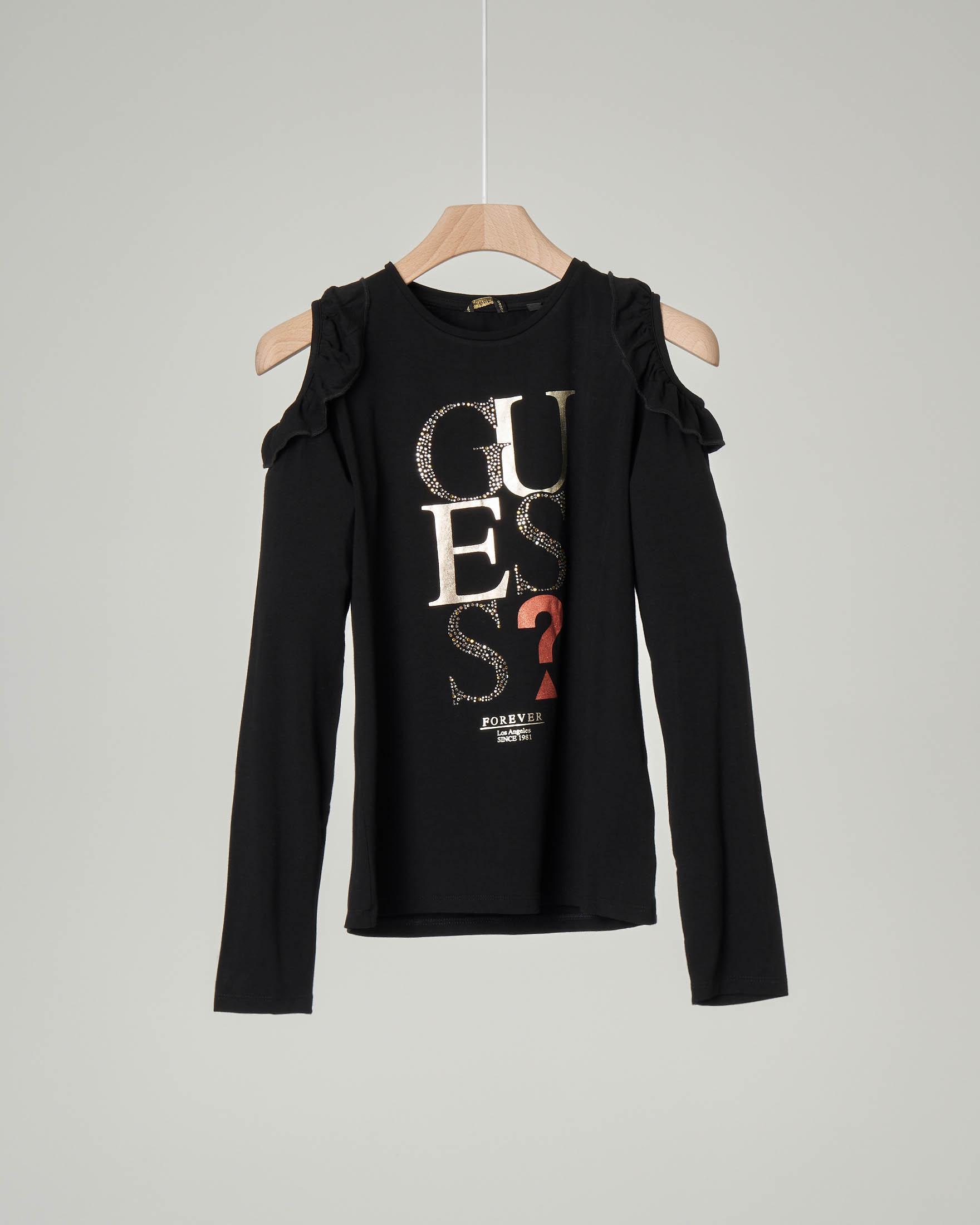 T-shirt nera manica lunga con apertura sulle spalle e volant 10-16 anni