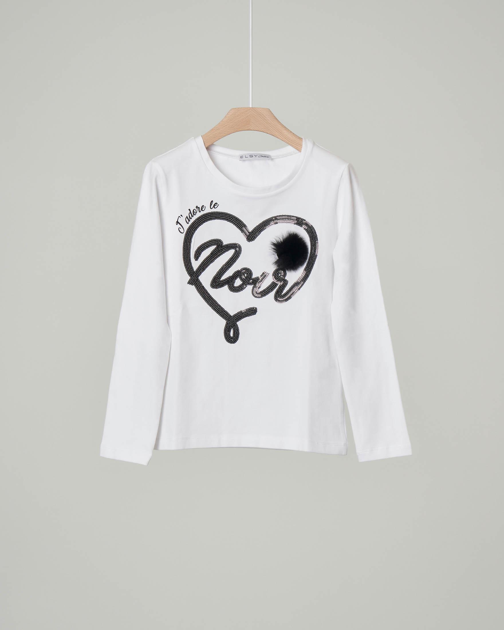 T-shirt bianca manica lunga con cuore e pon-pon nero 32-36