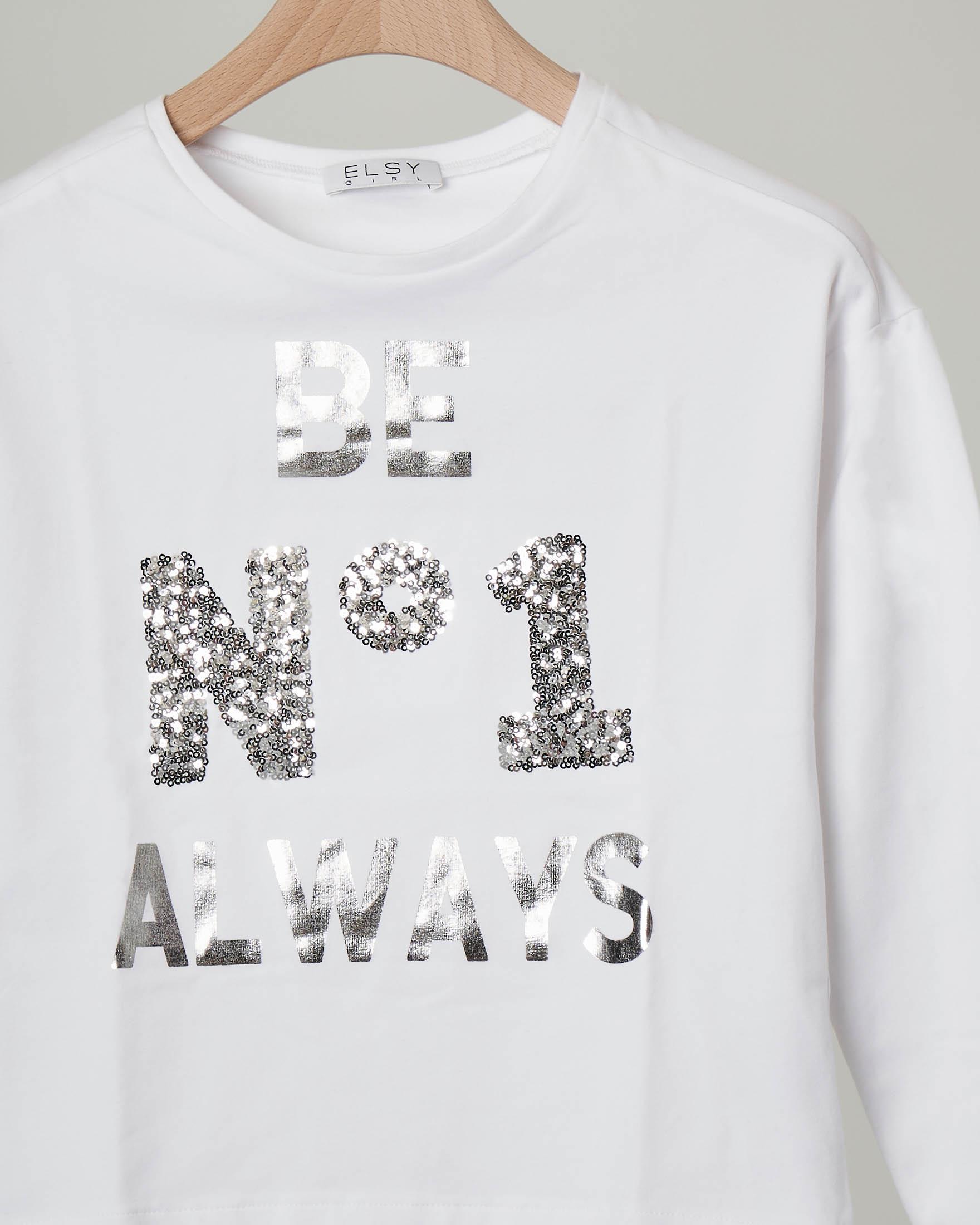 T-shirt bianca manica lunga con paillettes e scritta argentata 32-36