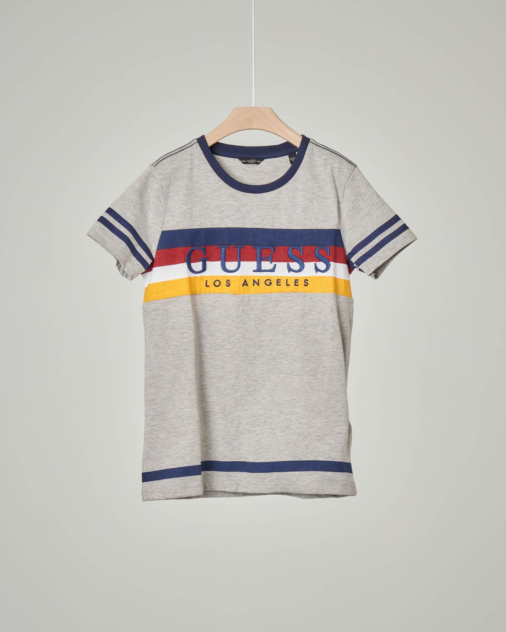 T-shirt grigia mezza manica con fascia a quattro colori e logo 8-16 anni