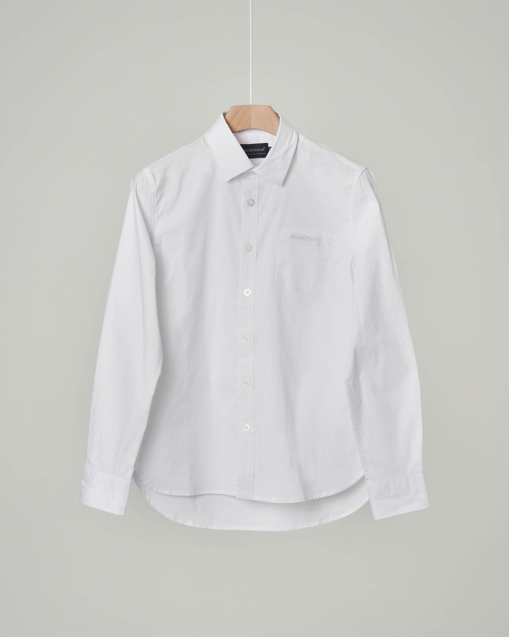 Camicia bianca in popeline stretch con taschino 8-16 anni