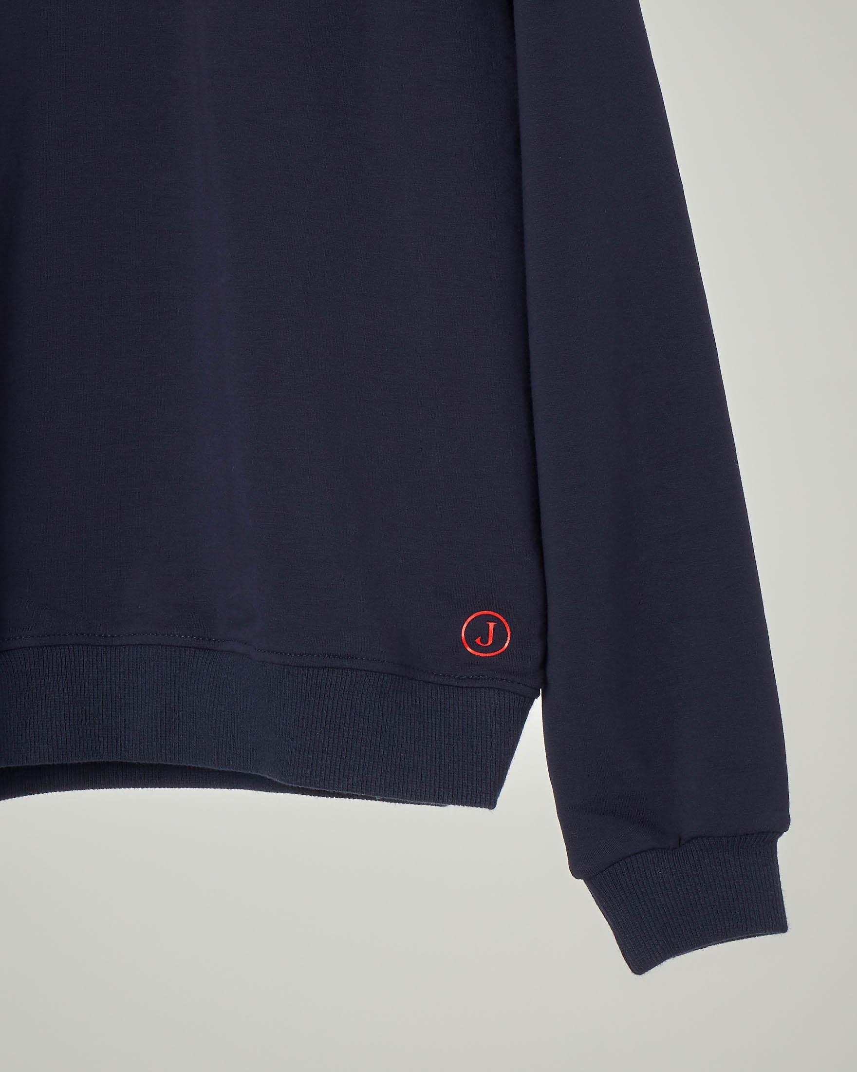 Felpa girocollo blu con logo rosso 10-16 anni