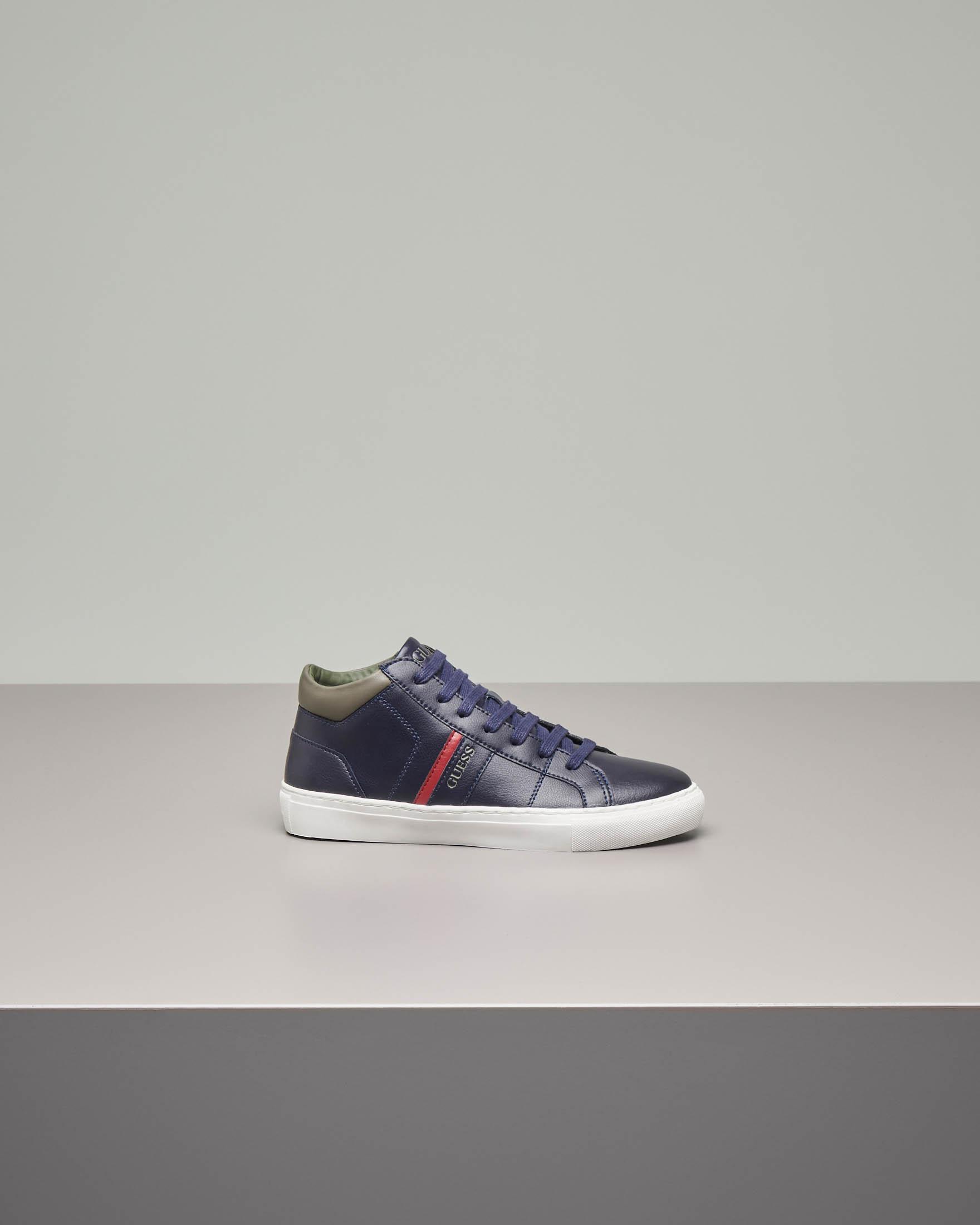 Sneakers alte blu in vera pelle 35-40