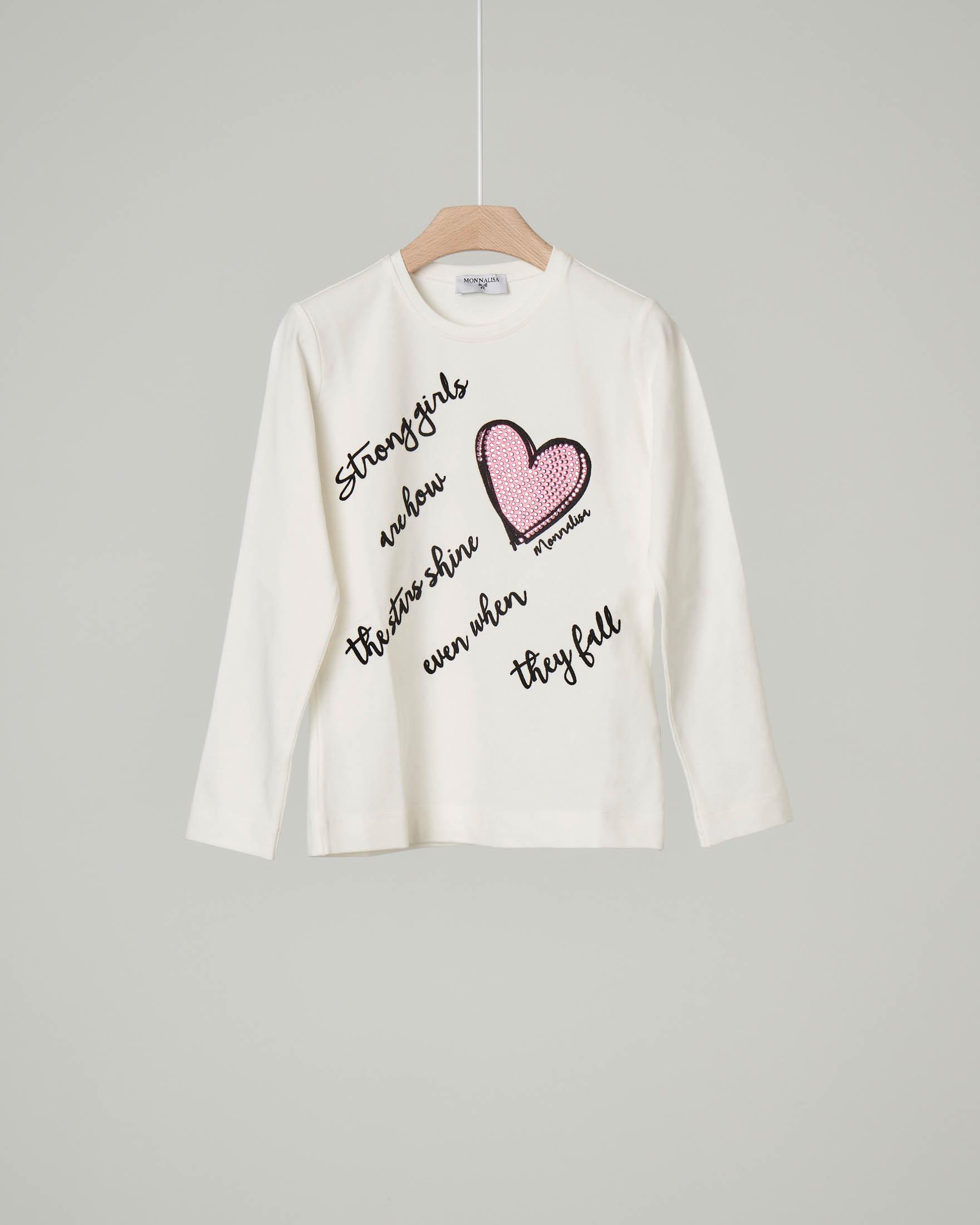 T-shirt bianca manica lunga con scritte in velluto e cuore rosa con strass 6-12 anni