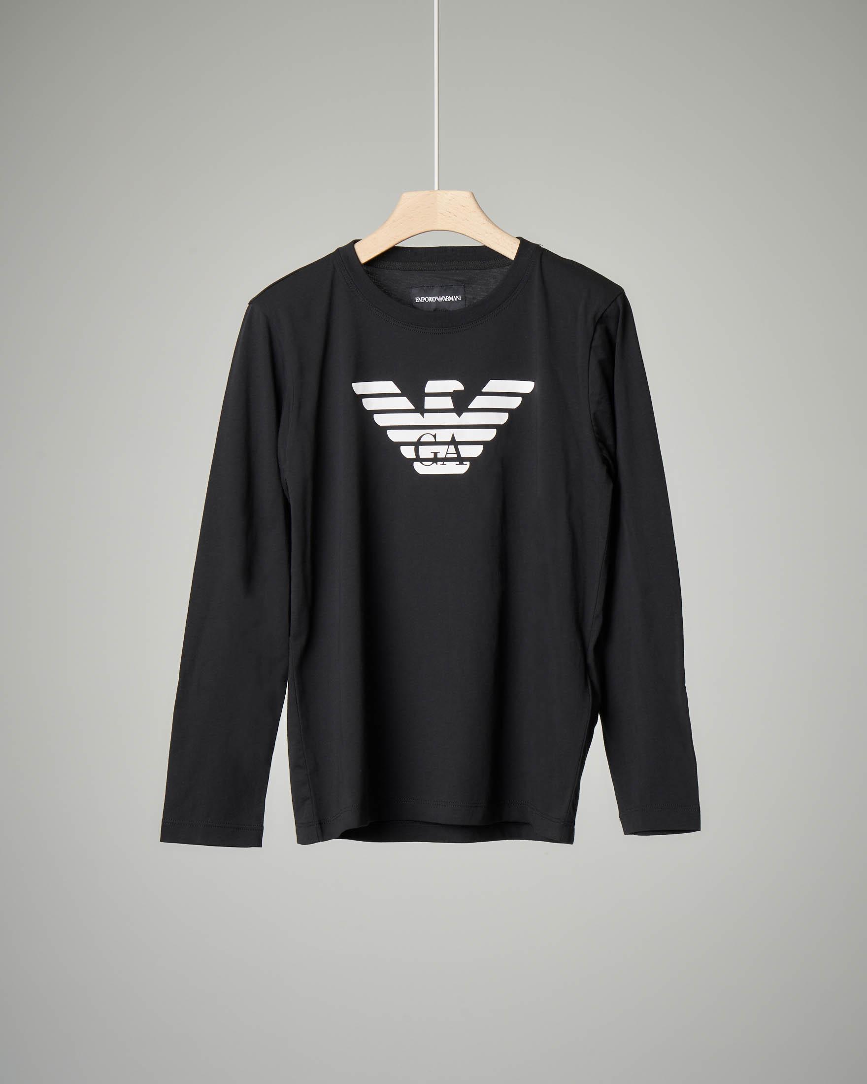 T-shirt nera a manica lunga 10-16 anni
