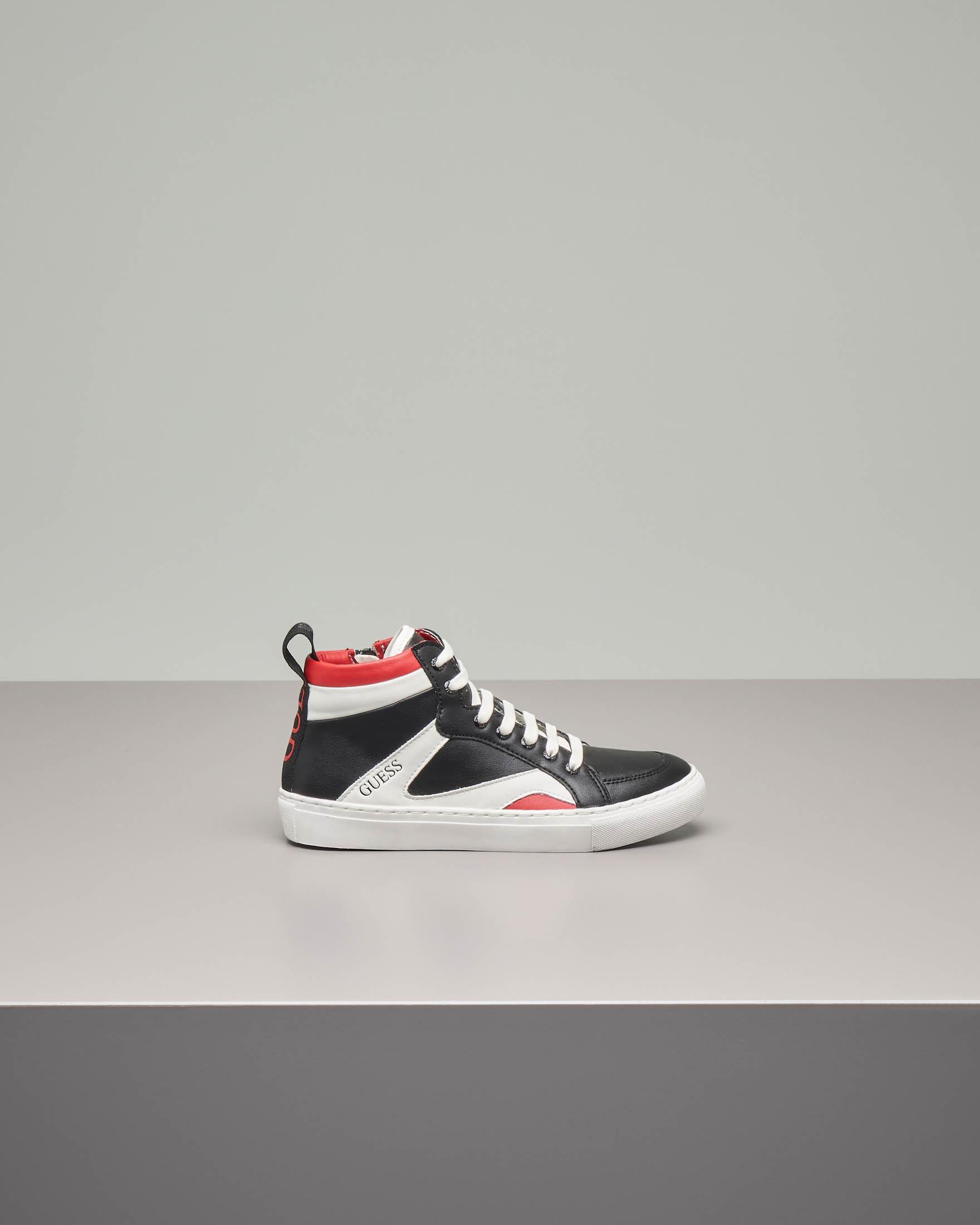 Sneakers alte nere con inserti bianchi e rossi 35-40