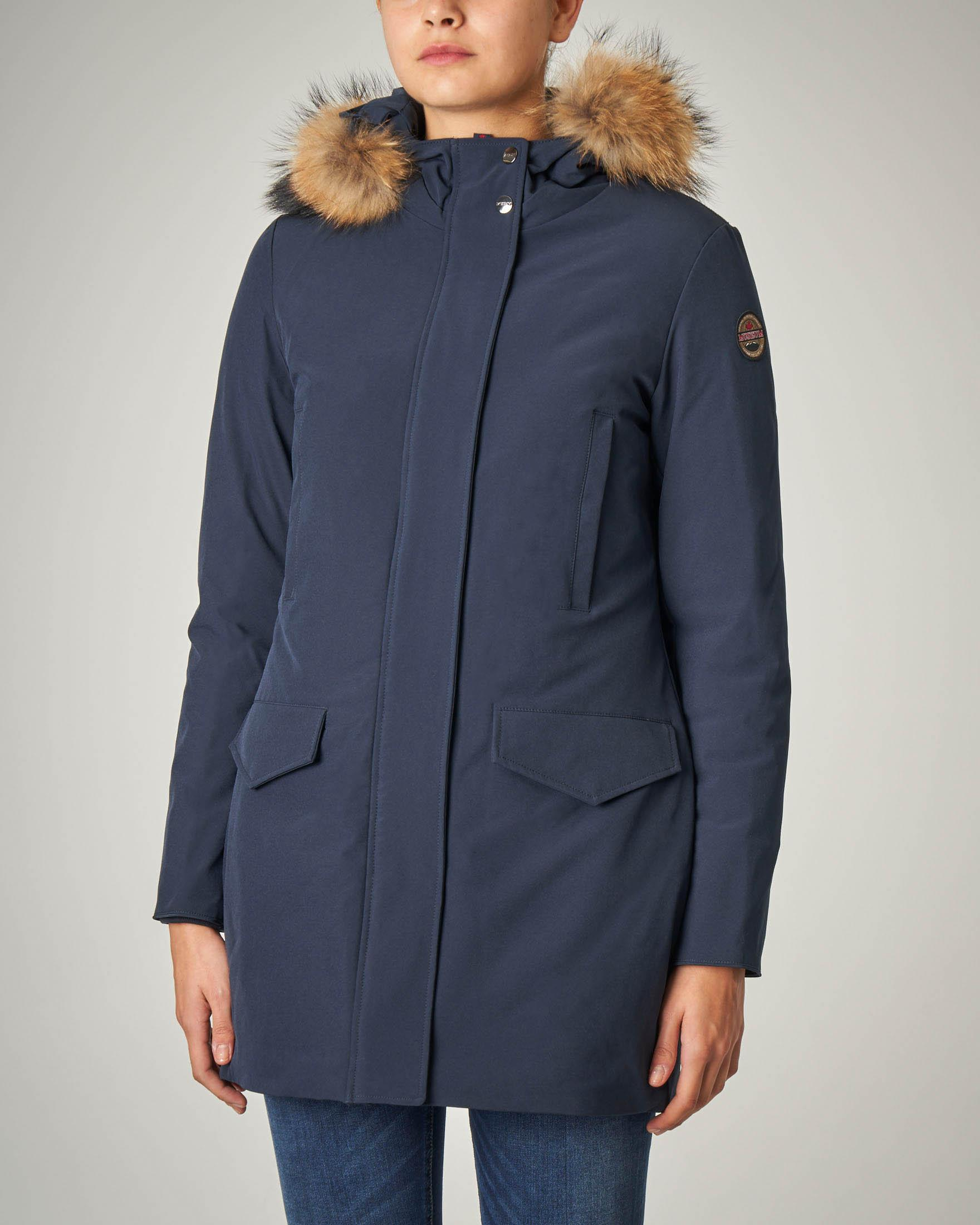Parka blu con cappuccio con bordo in pelo staccabile