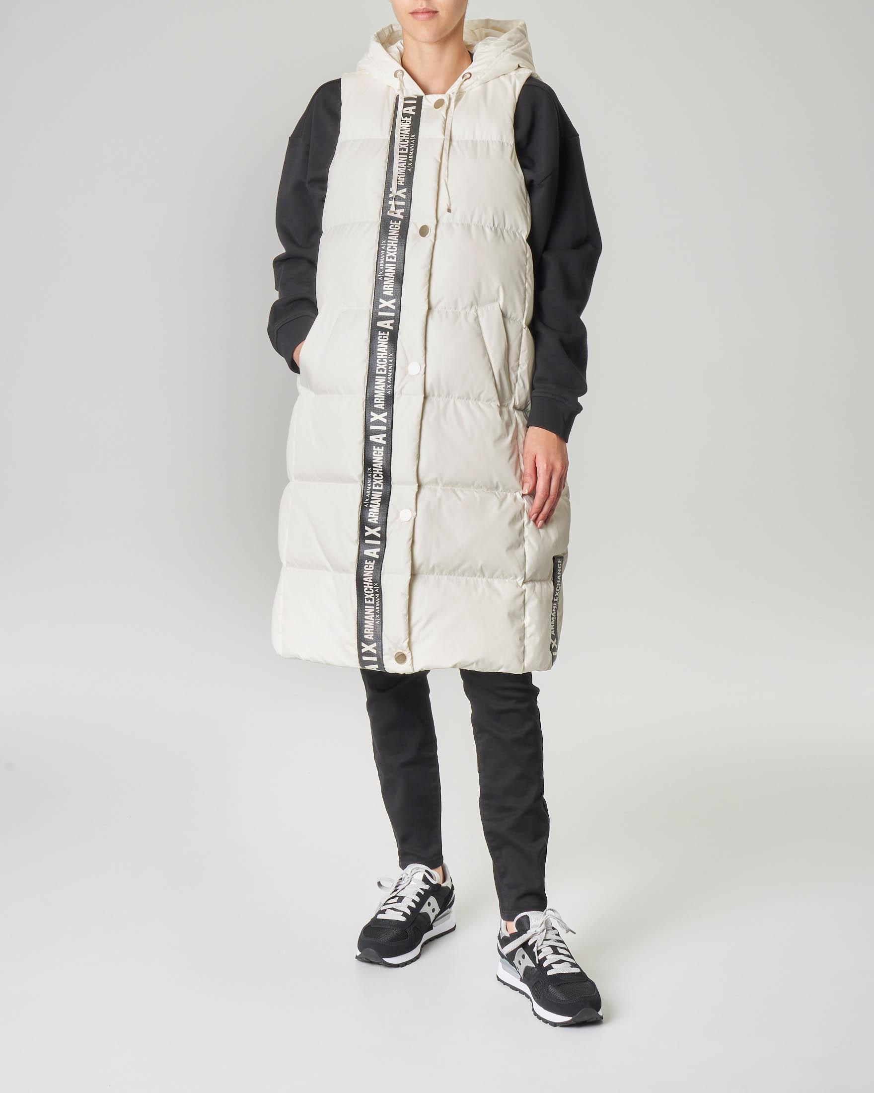 Maxi piumino bianco a gilet con cappuccio e banda a contrasto con logo