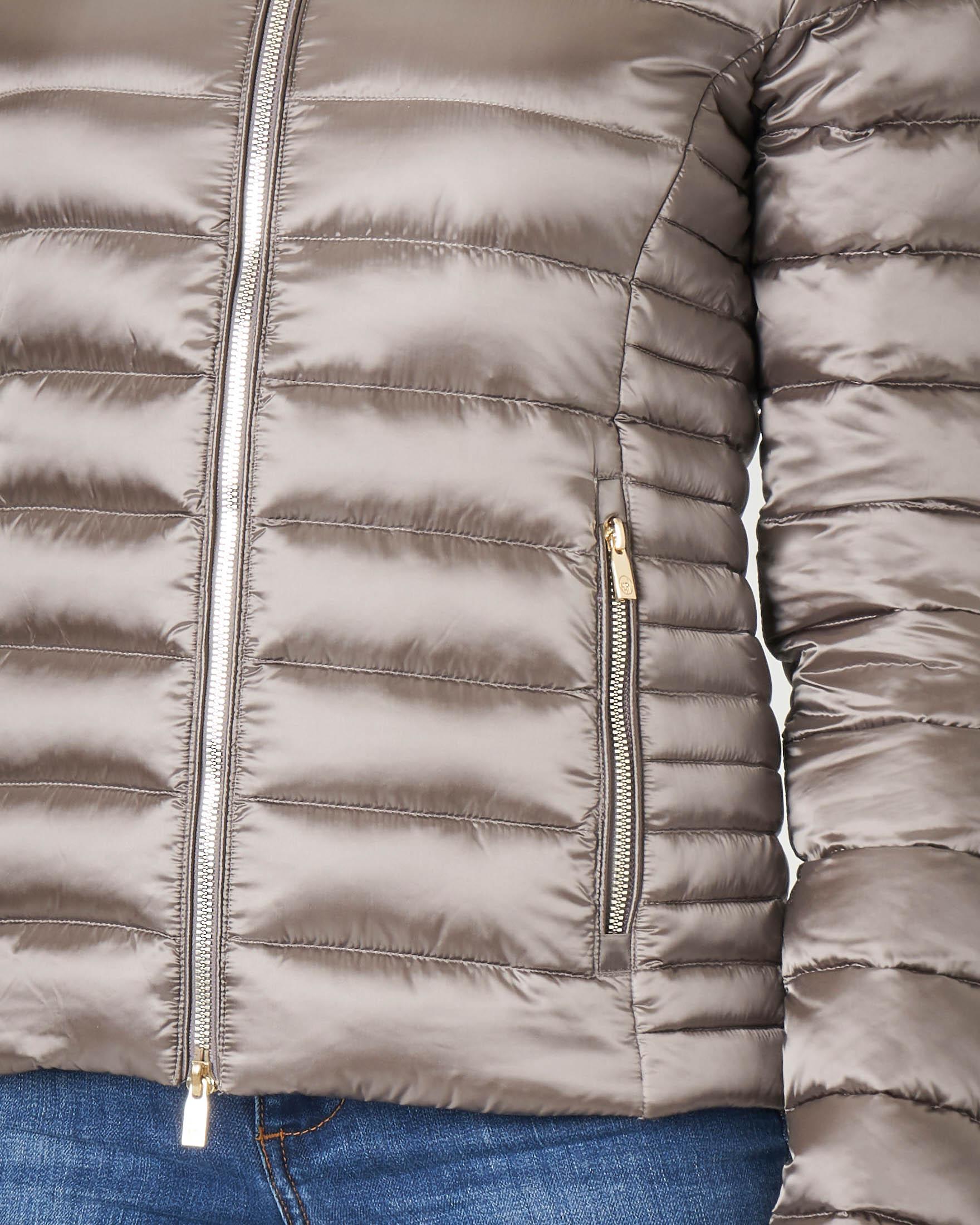 Piumino trapuntato grigio effetto metallizzato con cappuccio | Pellizzari E commerce