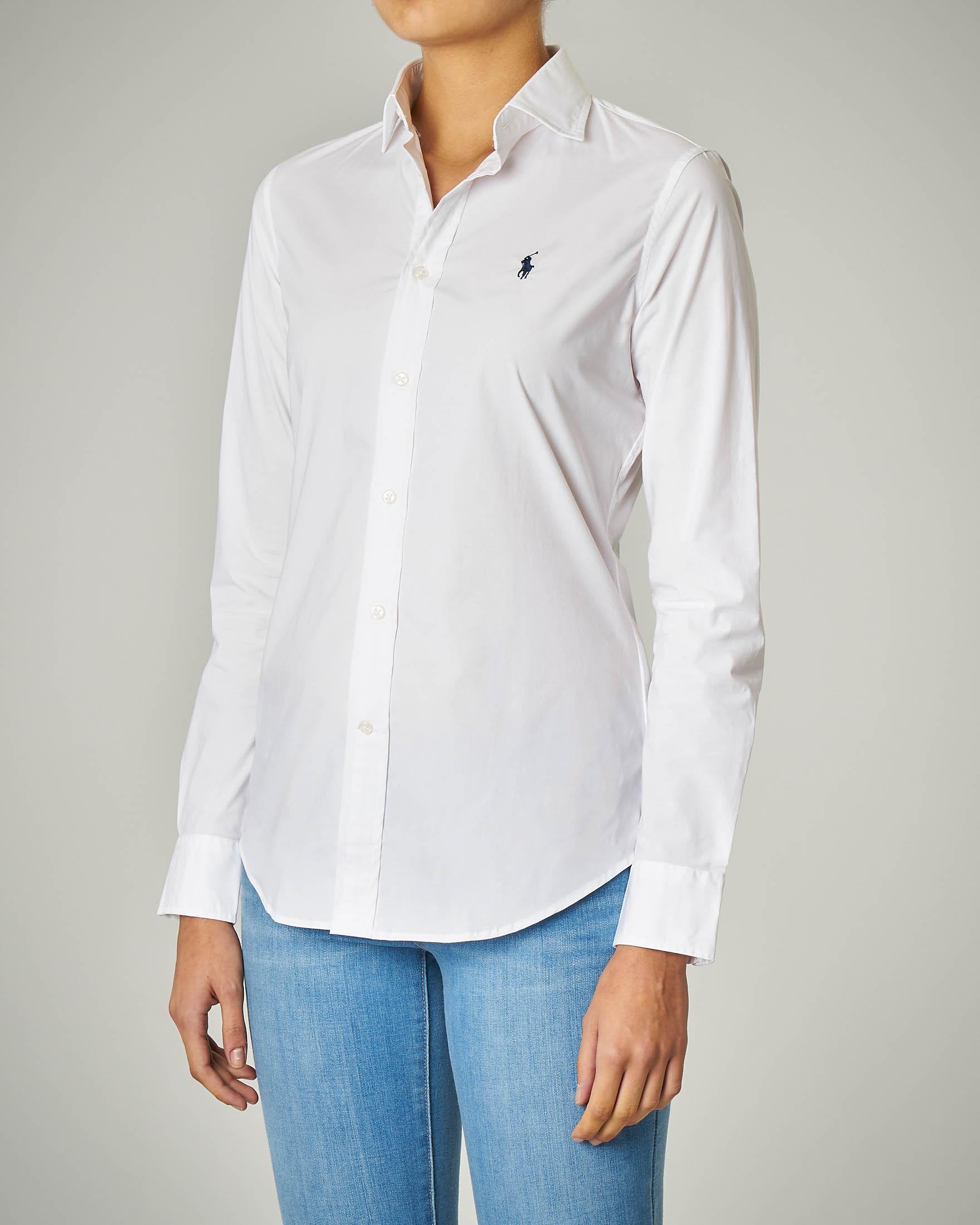 Camicia bianca in cotone con logo