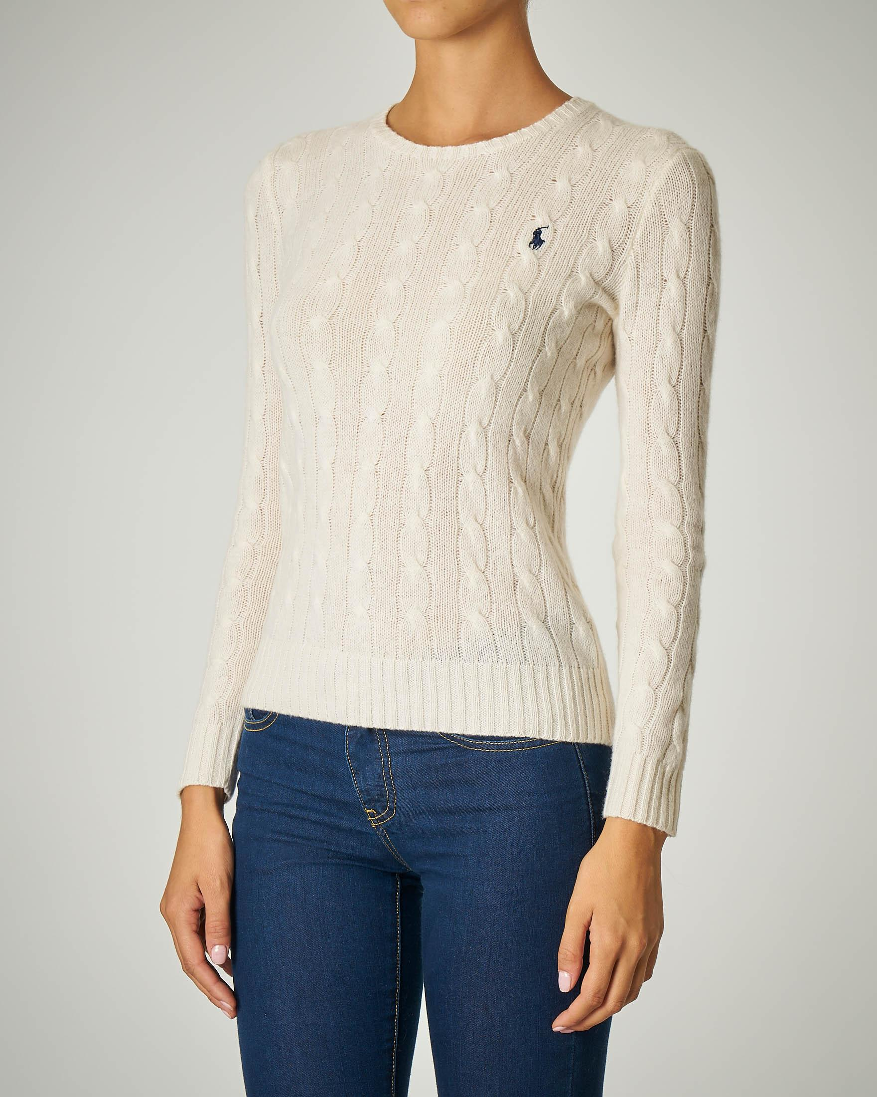 Maglia a trecce in lana e cashmere color avorio