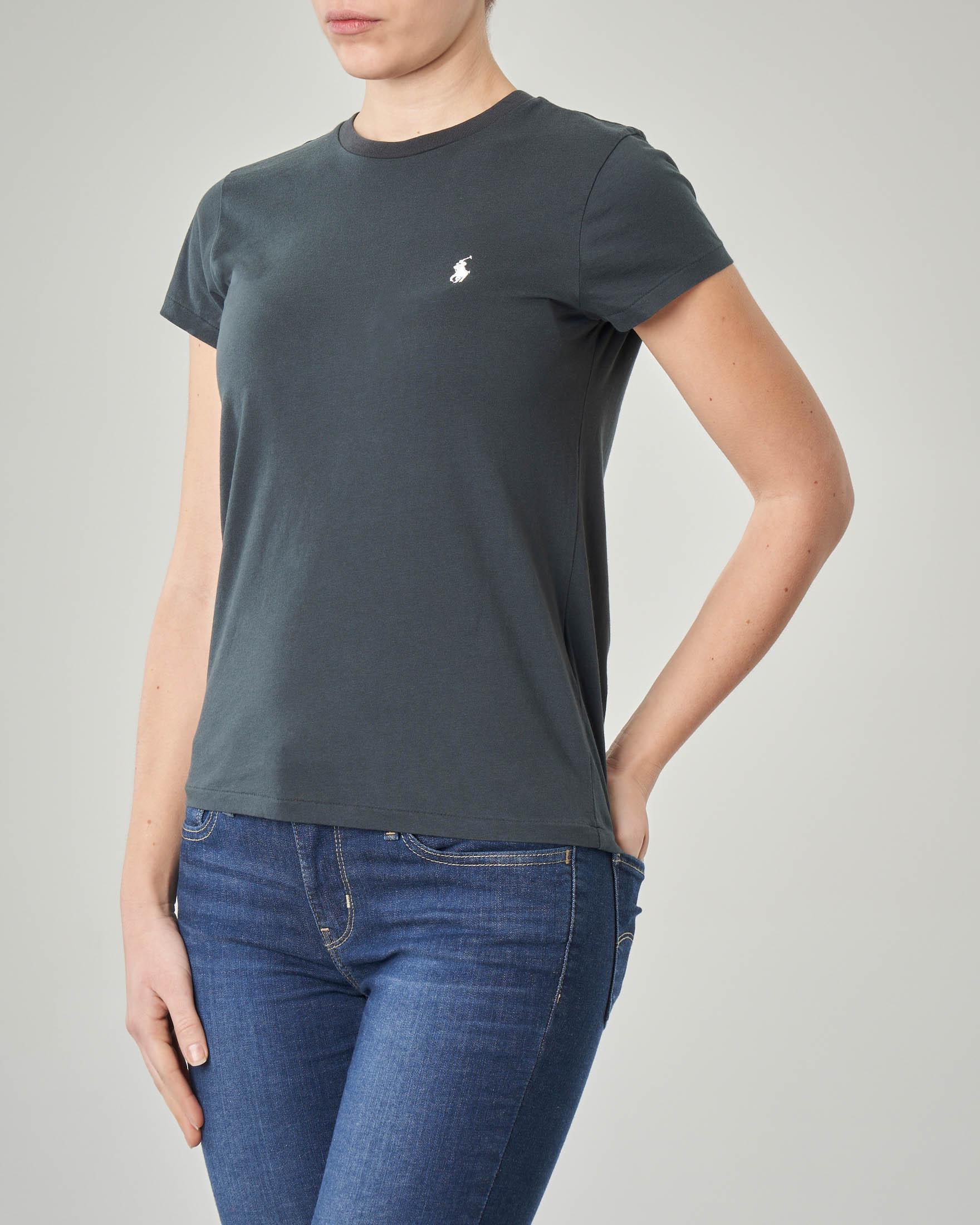 T-shirt gircollo nera manica corta in cotone