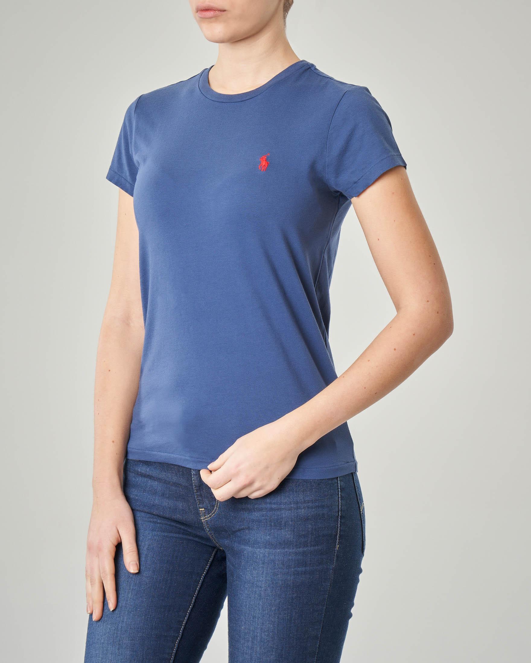 T-shirt gircollo blu manica corta in cotone