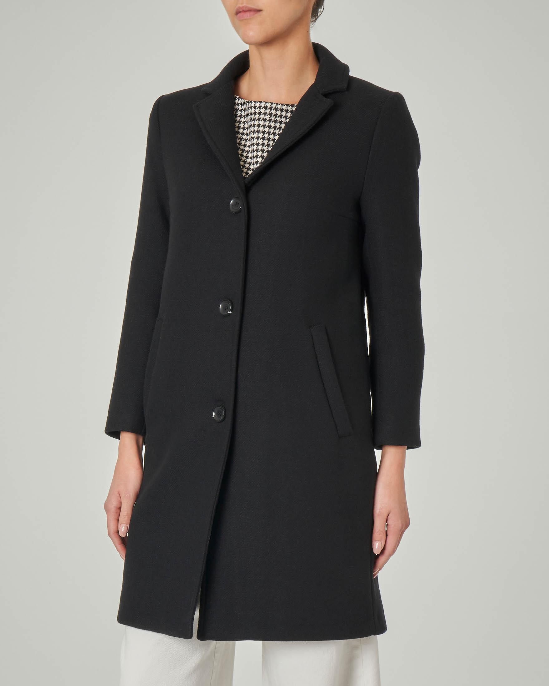 Cappottino in misto lana nero con collo a rever