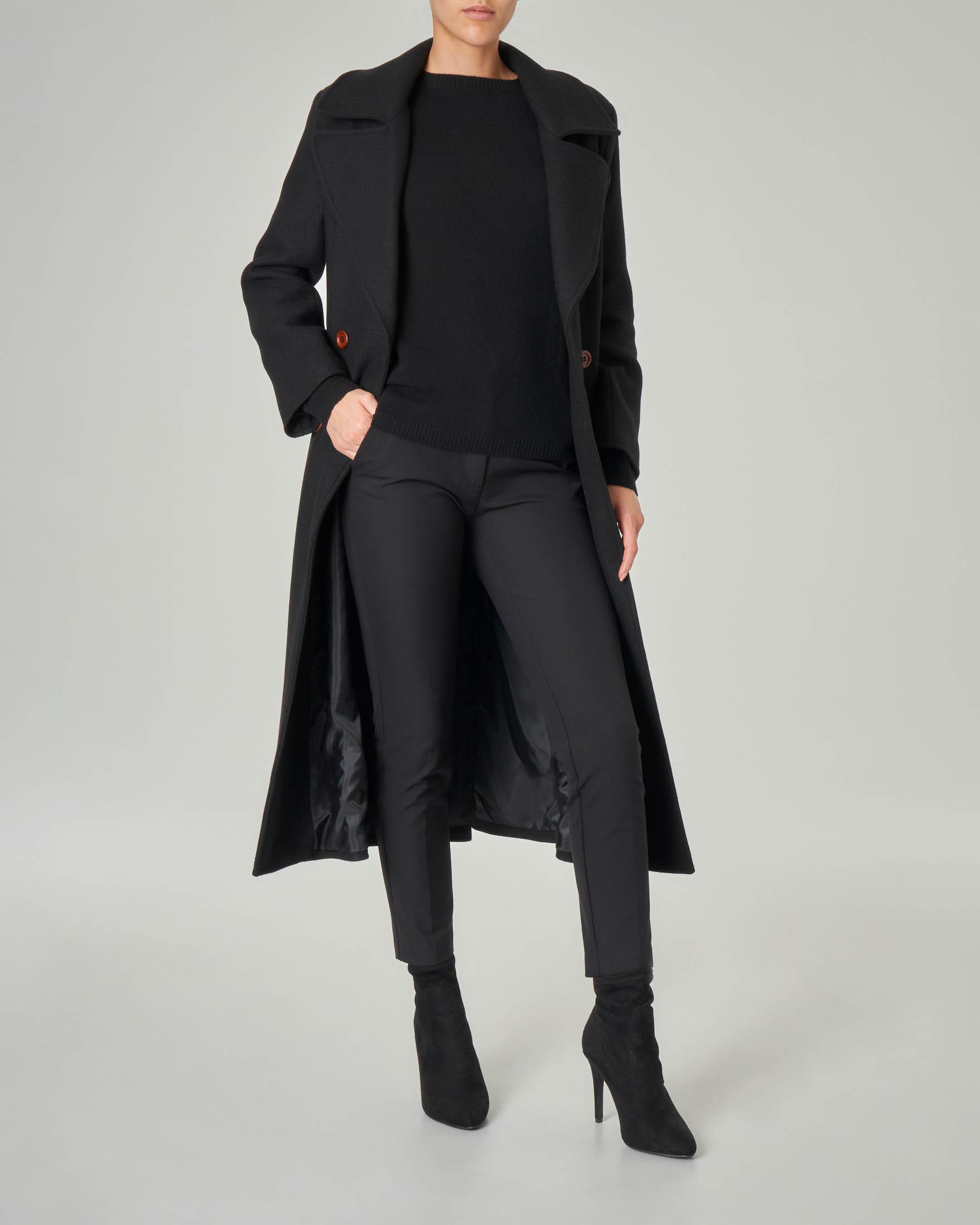 Trench nero doppiopetto in tessuto misto lana