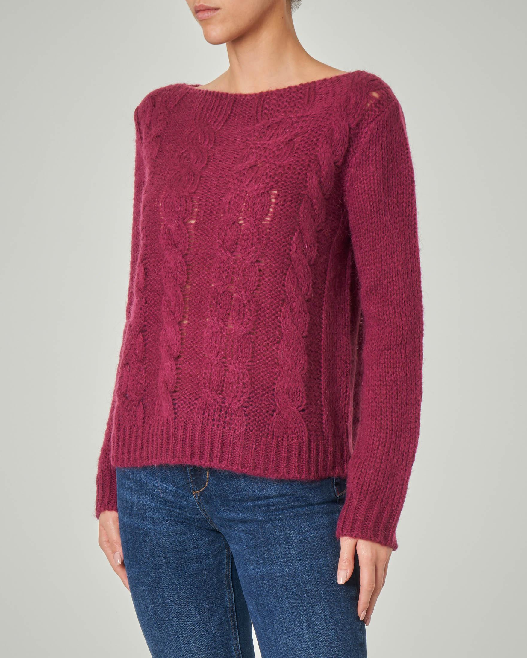 Maglia color vino in lana misto mohair lavorazione a trecce