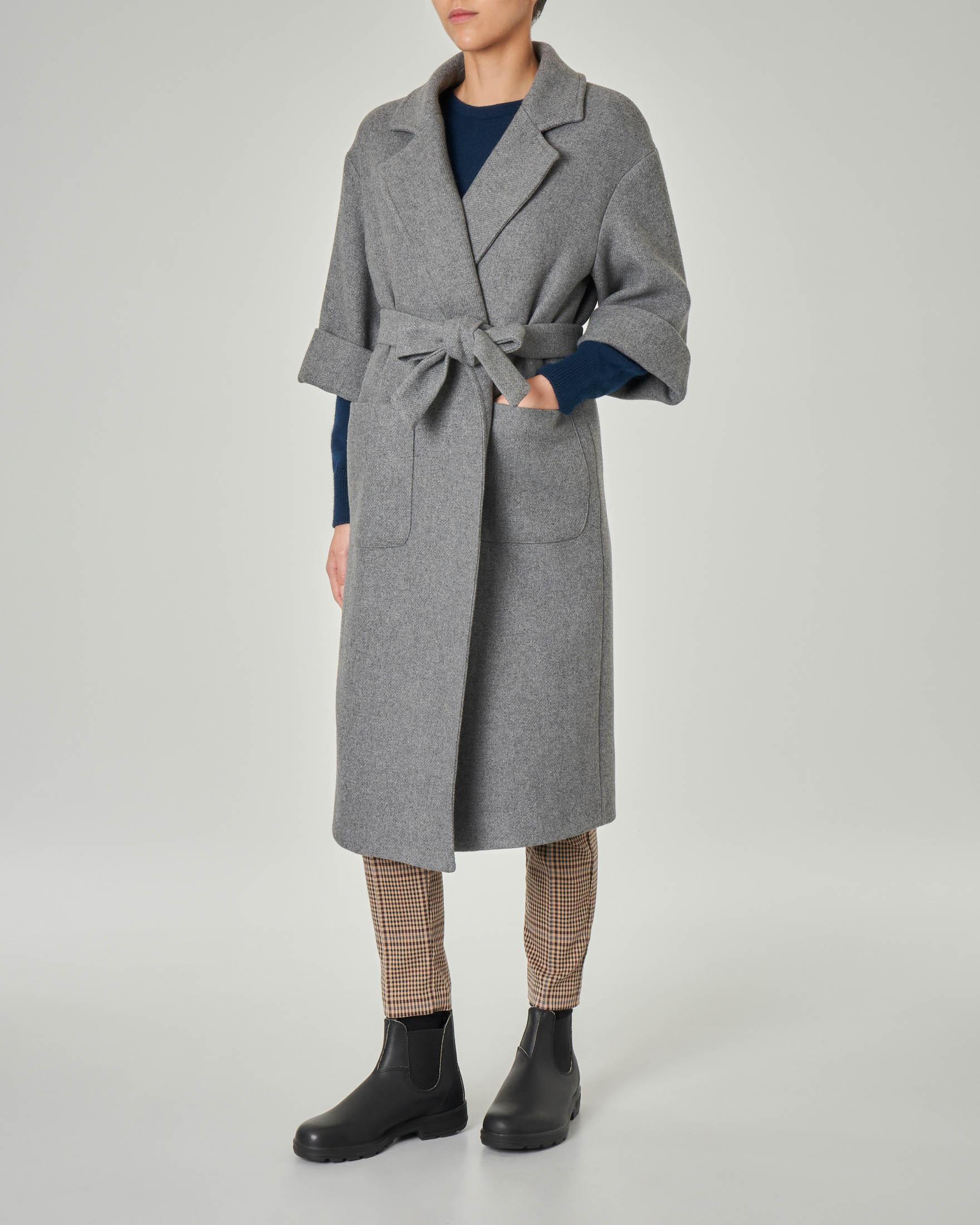 Cappotto grigio in misto lana con maniche tre quarti con risvolto