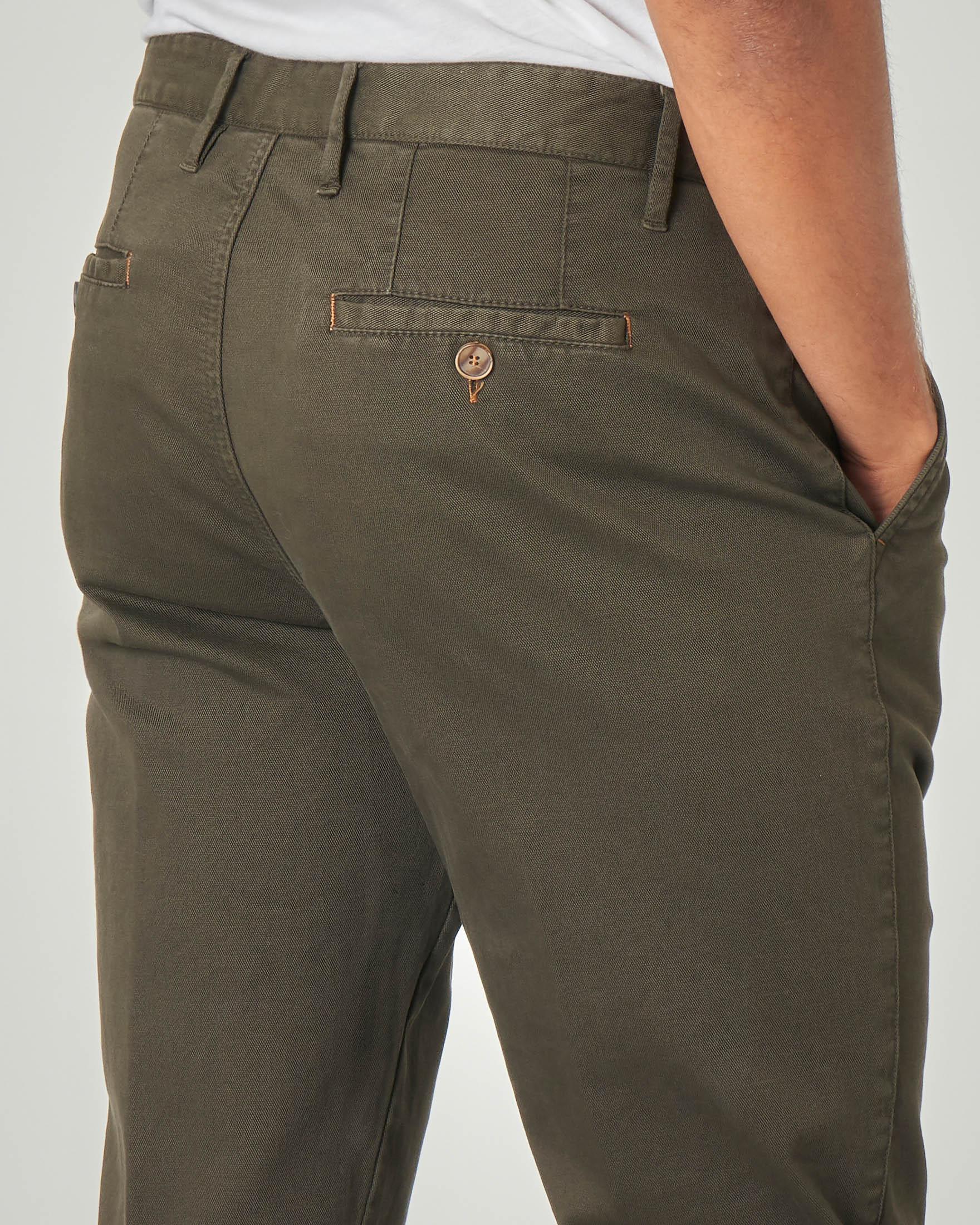 Pantalone chino verde scuro micro-armatura in cotone stretch